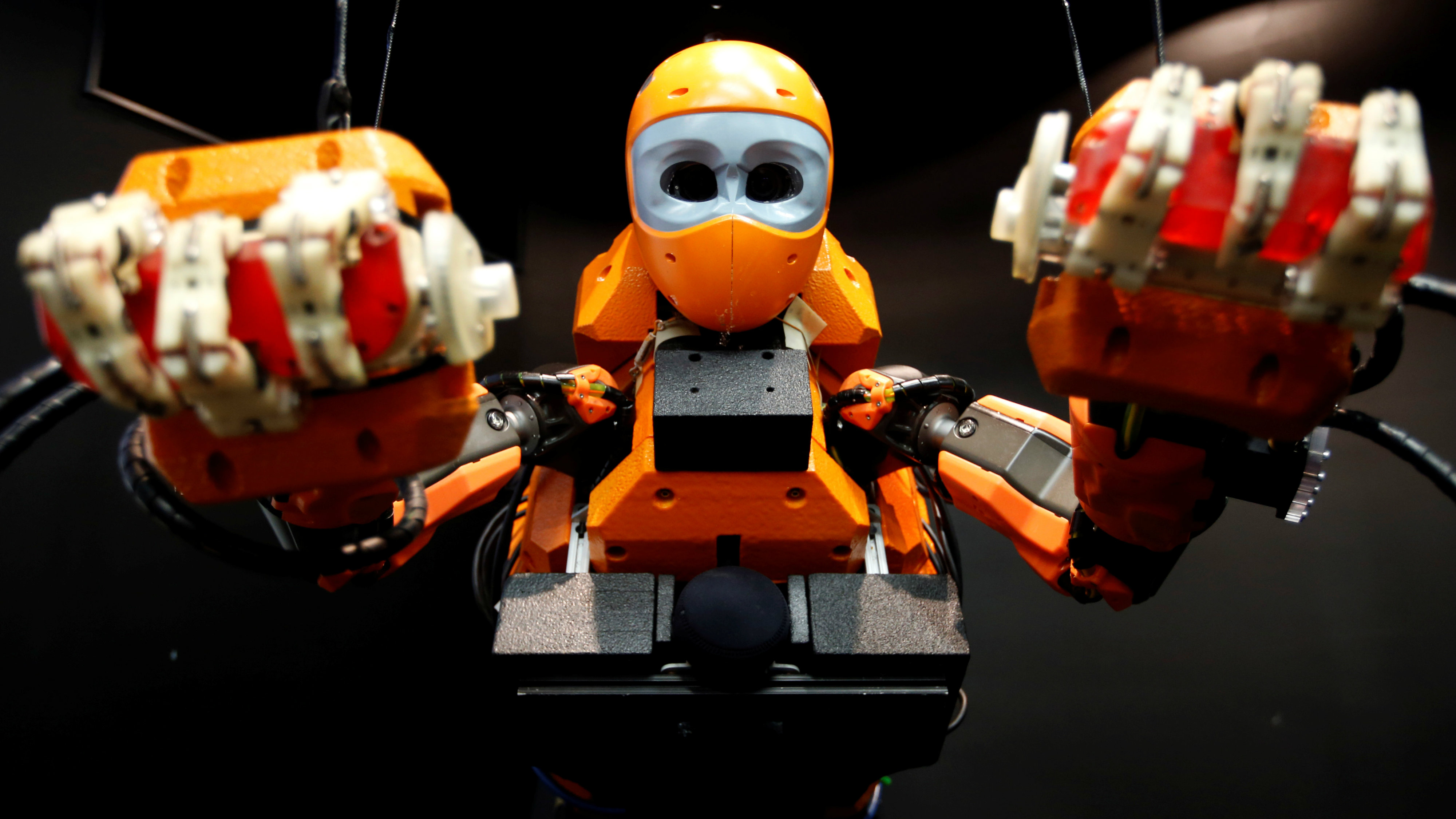 Humanoid Diving Robot OceanOne, with a humanoid torso and a mermaid-like tail section, studded with thrusters and sensors to keep the mer-bot swimming is seen during its presentation at the History Museum in Marseille, France, April 28, 2016.