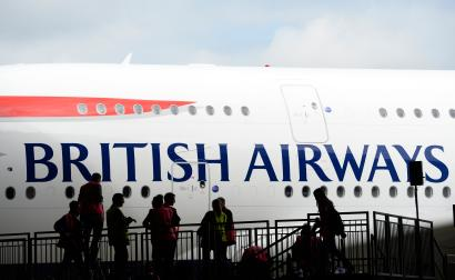 File photo of a British Airways Airbus A380 at Heathrow airport in London
