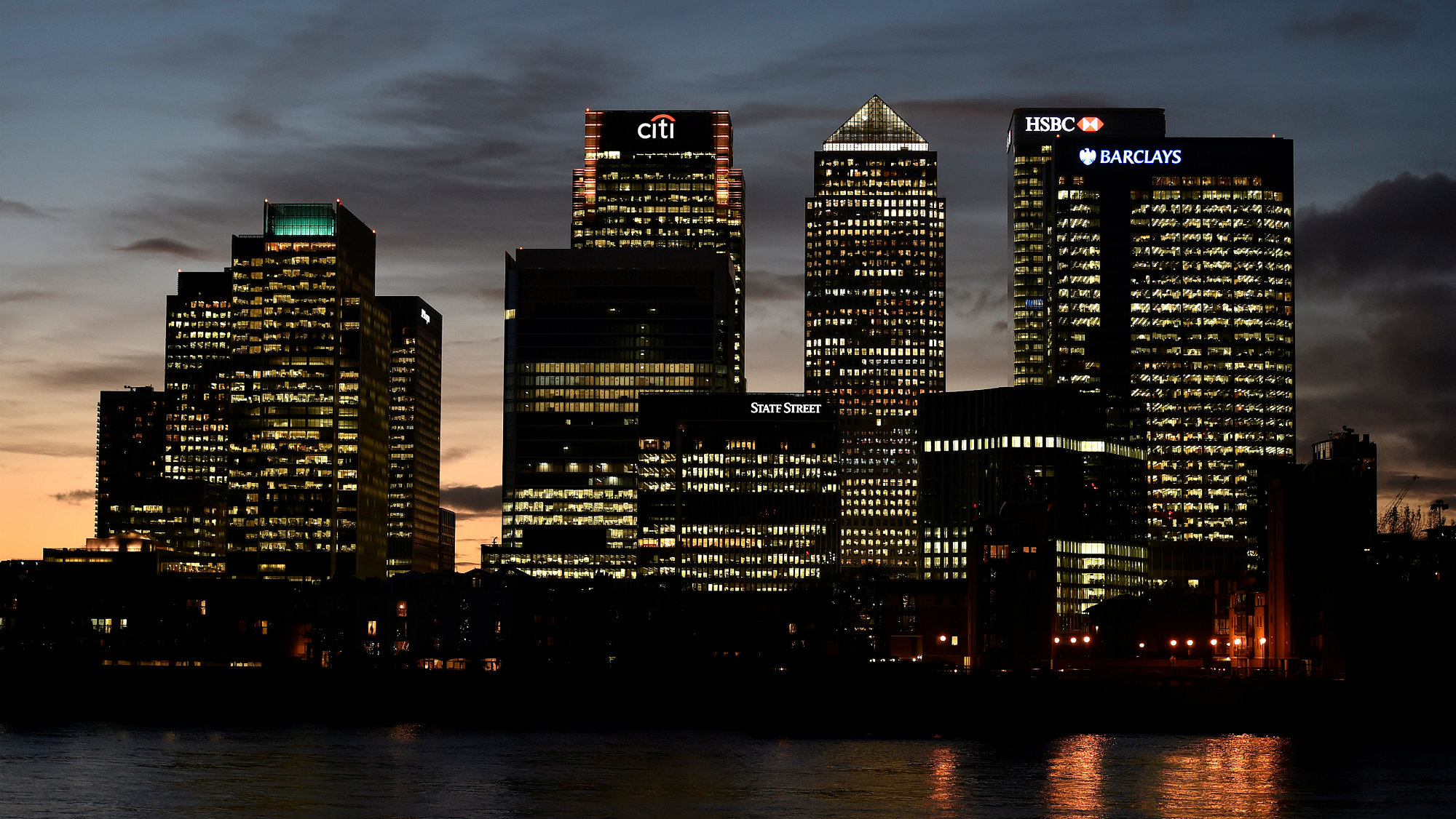 The Canary Wharf financial district is seen at dusk in east London, Britain.