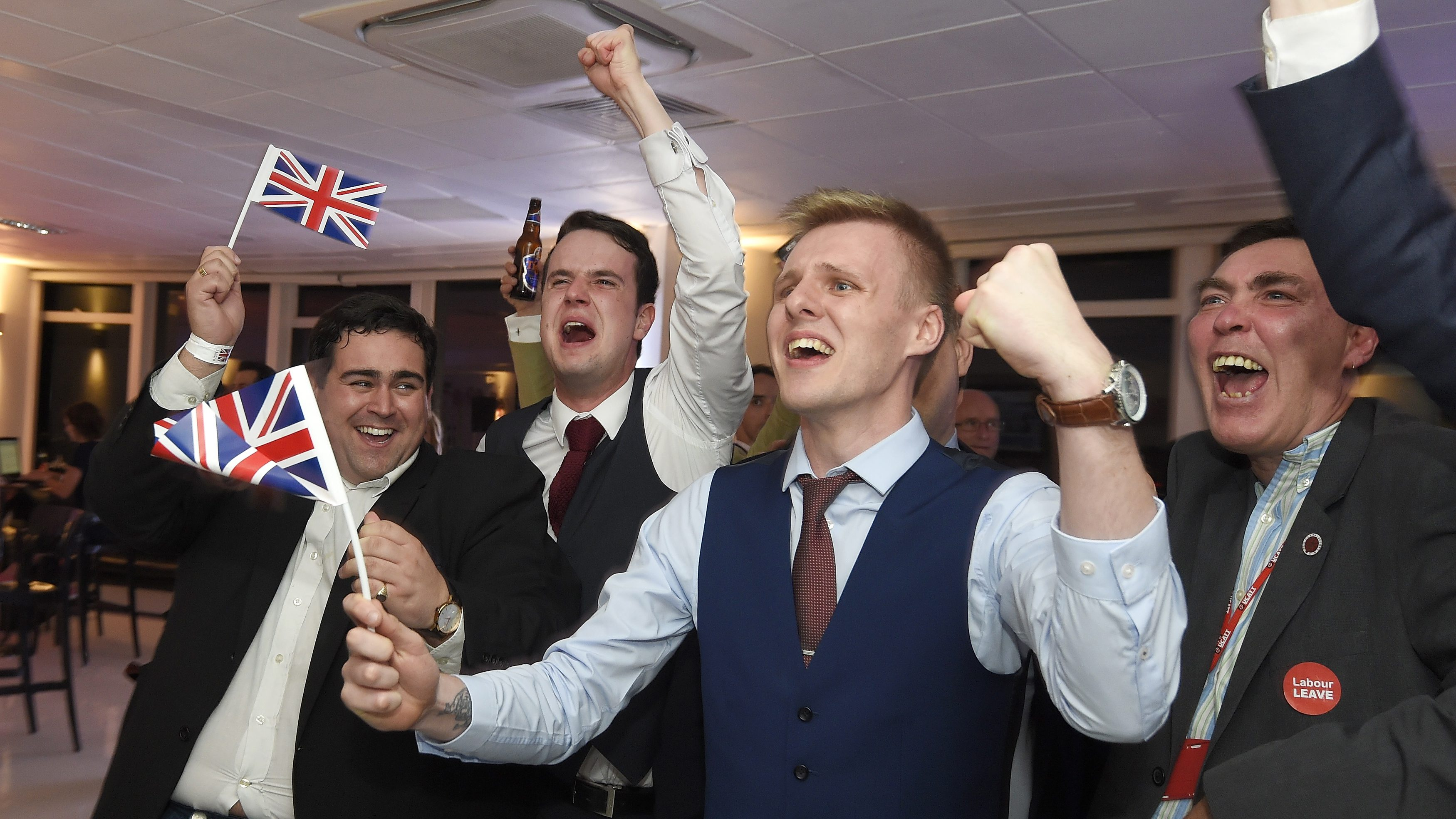 Leave supporters cheer results at a Leave.eu party after polling stations closed in the Referendum on the European Union in London