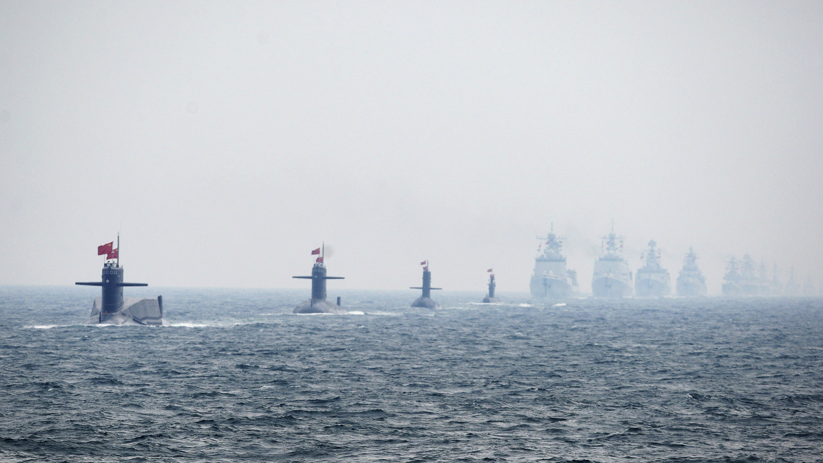 Chinese Navy submarines and warships take part in an international fleet review to celebrate the 60th anniversary of the founding of the People's Liberation Army Navy in Qingdao, Shandong province, April 23, 2009.