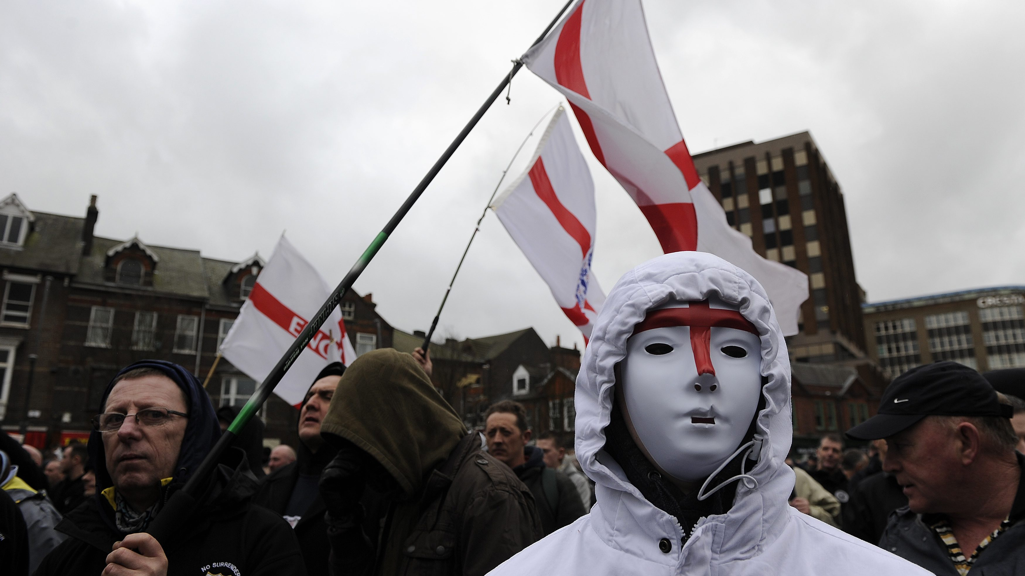 Supporters of the English Defence League gather for a rally in central  Luton