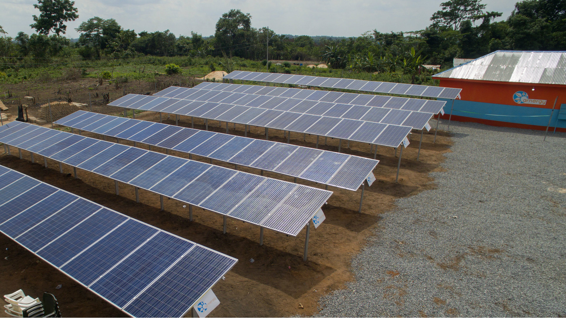 A mini solar grid installed in Edo state, Nigeria as part of Arnergy's rural electrification project.