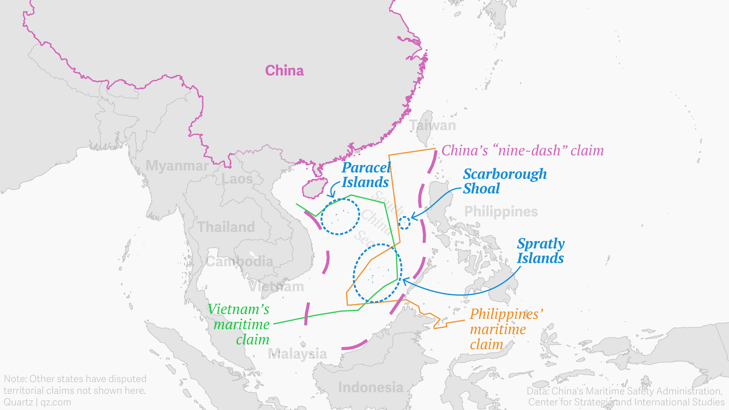 Map of China's nine-dash line showing the Spratly and Paracel islands and Scarborough Shoal