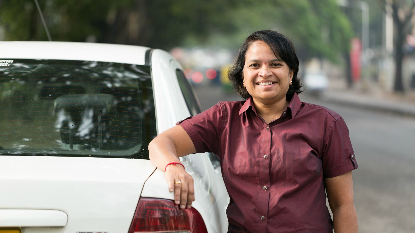 Uber's first woman driver Veerath Bharathi.