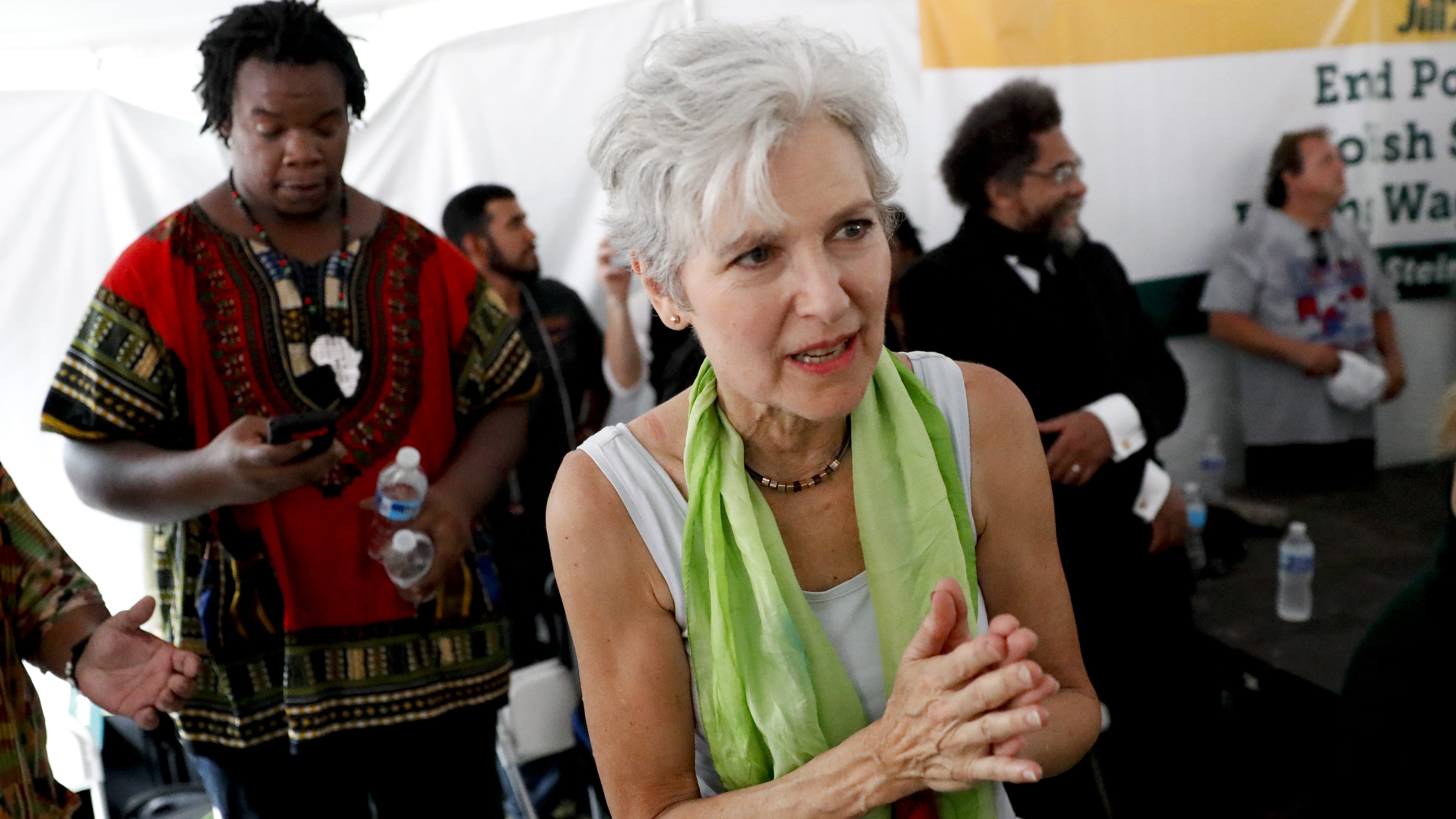 Dr. Jill Stein, presumptive Green Party presidential nominee, arrives for a Power to the People Rally at Franklin Delano Roosevelt Park, Monday, July 25, 2016, in Philadelphia, during the first day of the Democratic National Convention. (AP Photo/John Minchillo)