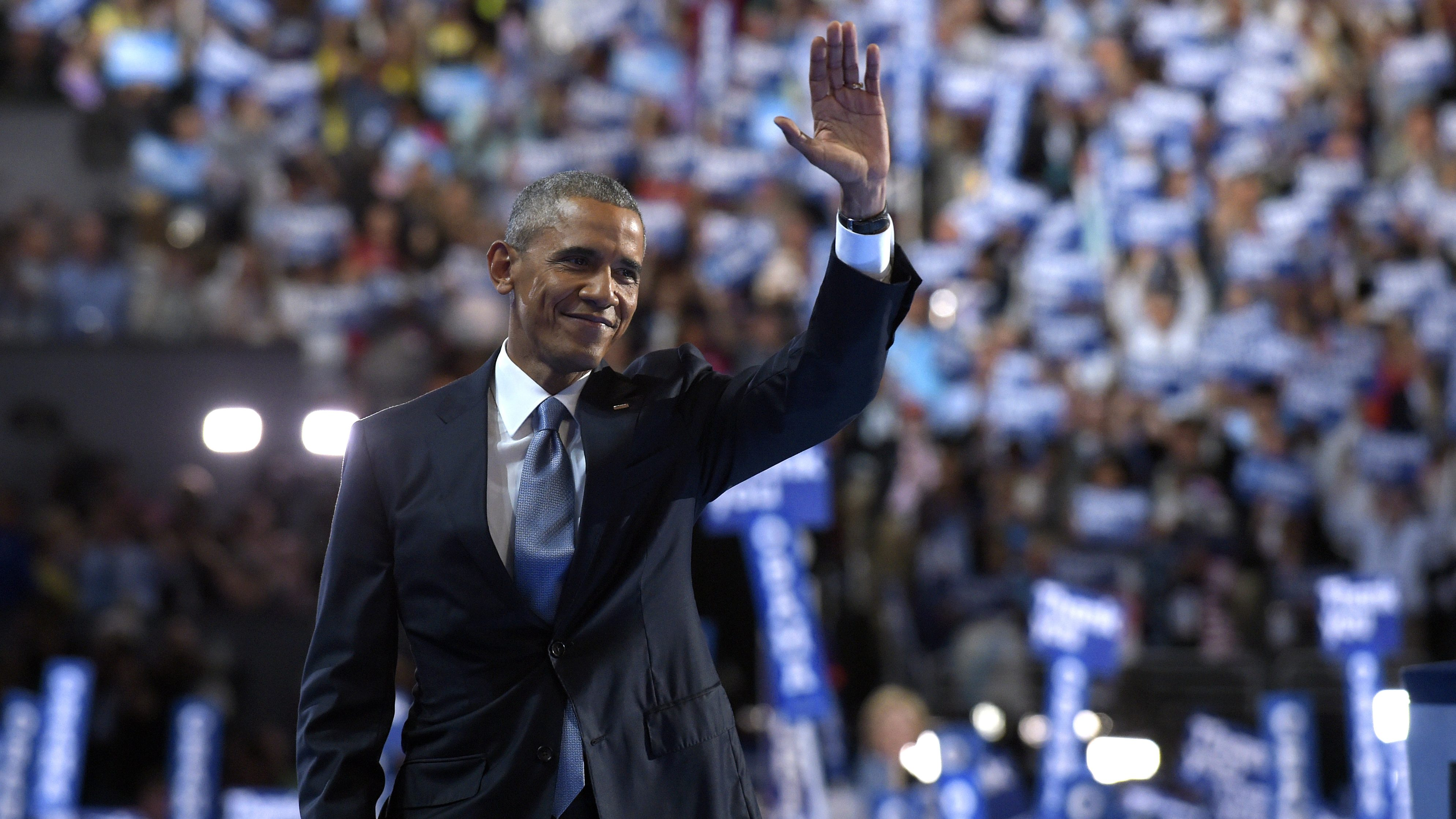 President Barack Obama waves to the crowd after speaking at the Democratic National Convention in Philadelphia, Wednesday, July 27, 2016. (AP Photo/Susan Walsh)