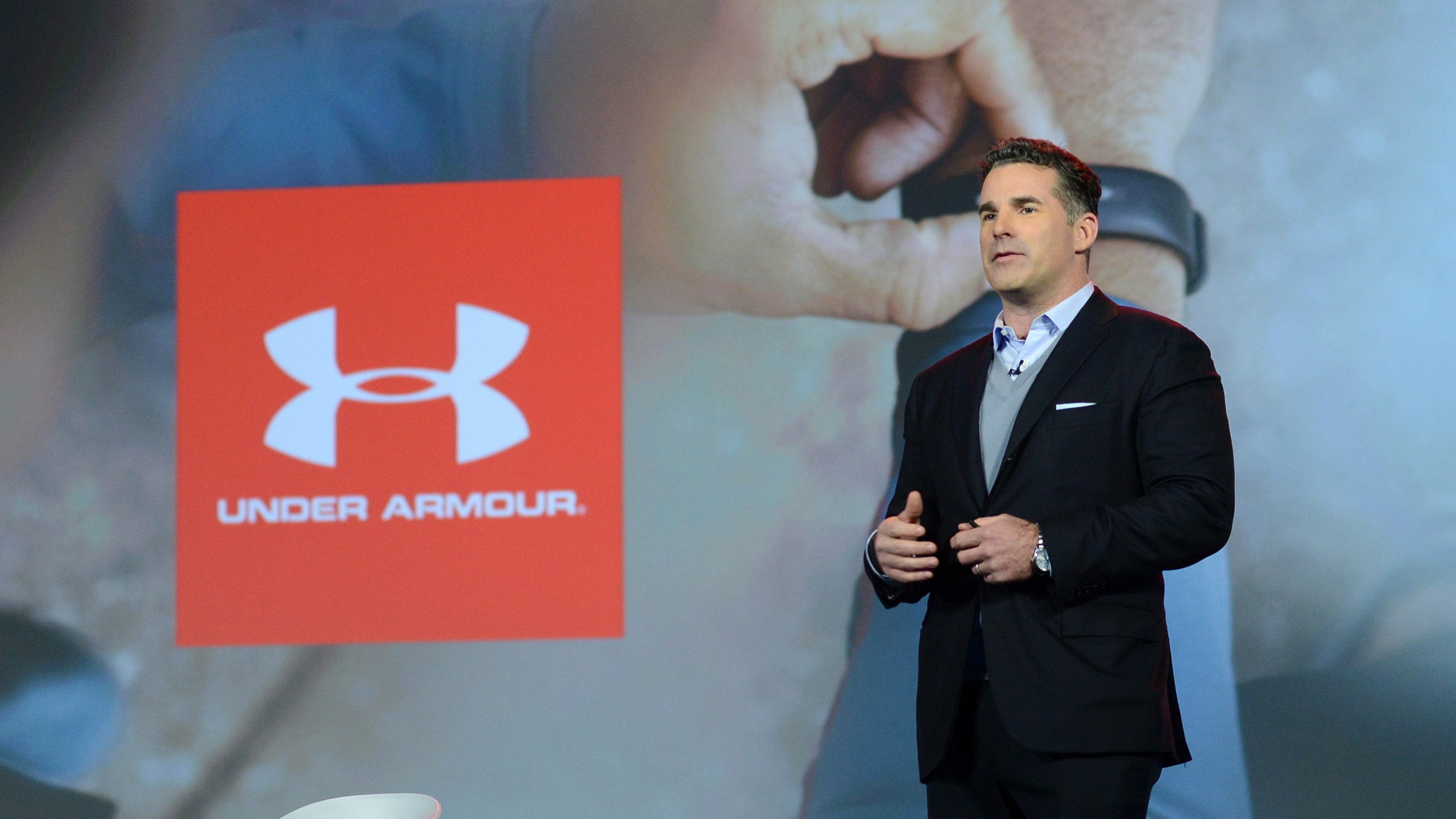 """In this photo taken by Feature Photo Service for IBM: At CES, IBM Chairman and CEO Ginni Rometty, and Kevin Plank, Founder and CEO, Under Armour, announced a new """"cognitive coaching"""" system, powered by Watson, that will transform personal health and fitness, Weds., January 6, 2016 in Las Vegas, Nev. The system will serve as a personal health consultant, fitness trainer and assistant by providing athletes with coaching around sleep, fitness, activity and nutrition. It will initially be available within UA Record (TM) available now on the App Store. (Alan Rosenberg/Feature Photo Service for IBM)"""