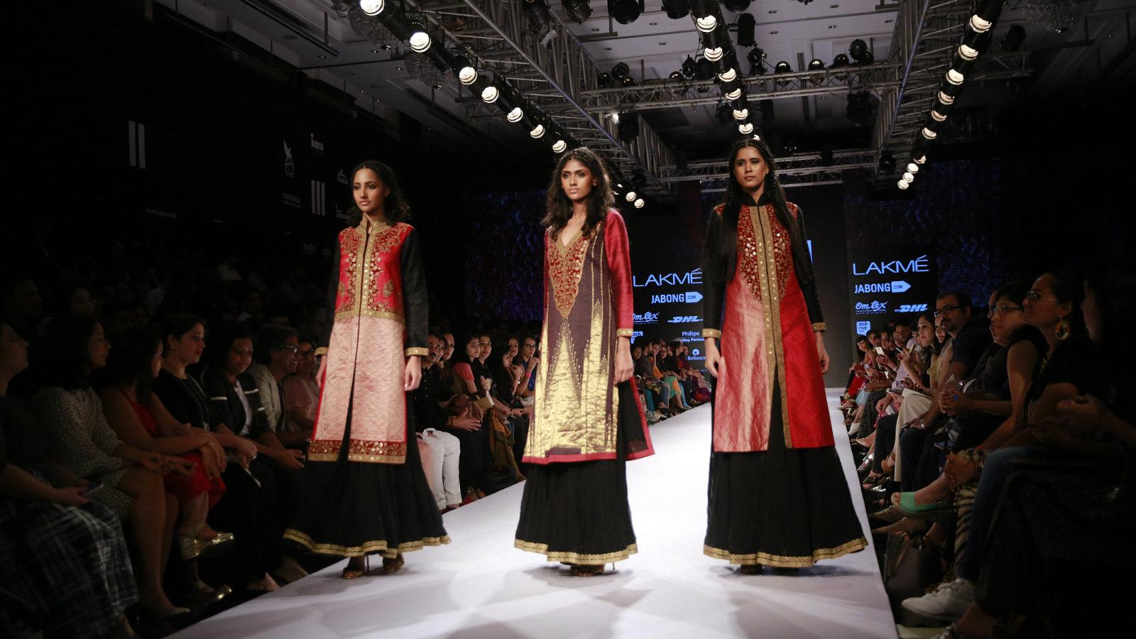 Indian models present creations of designer Ritu Kumar during the Lakme Fashion Week in Mumbai, India, Thursday, Aug. 27, 2015.