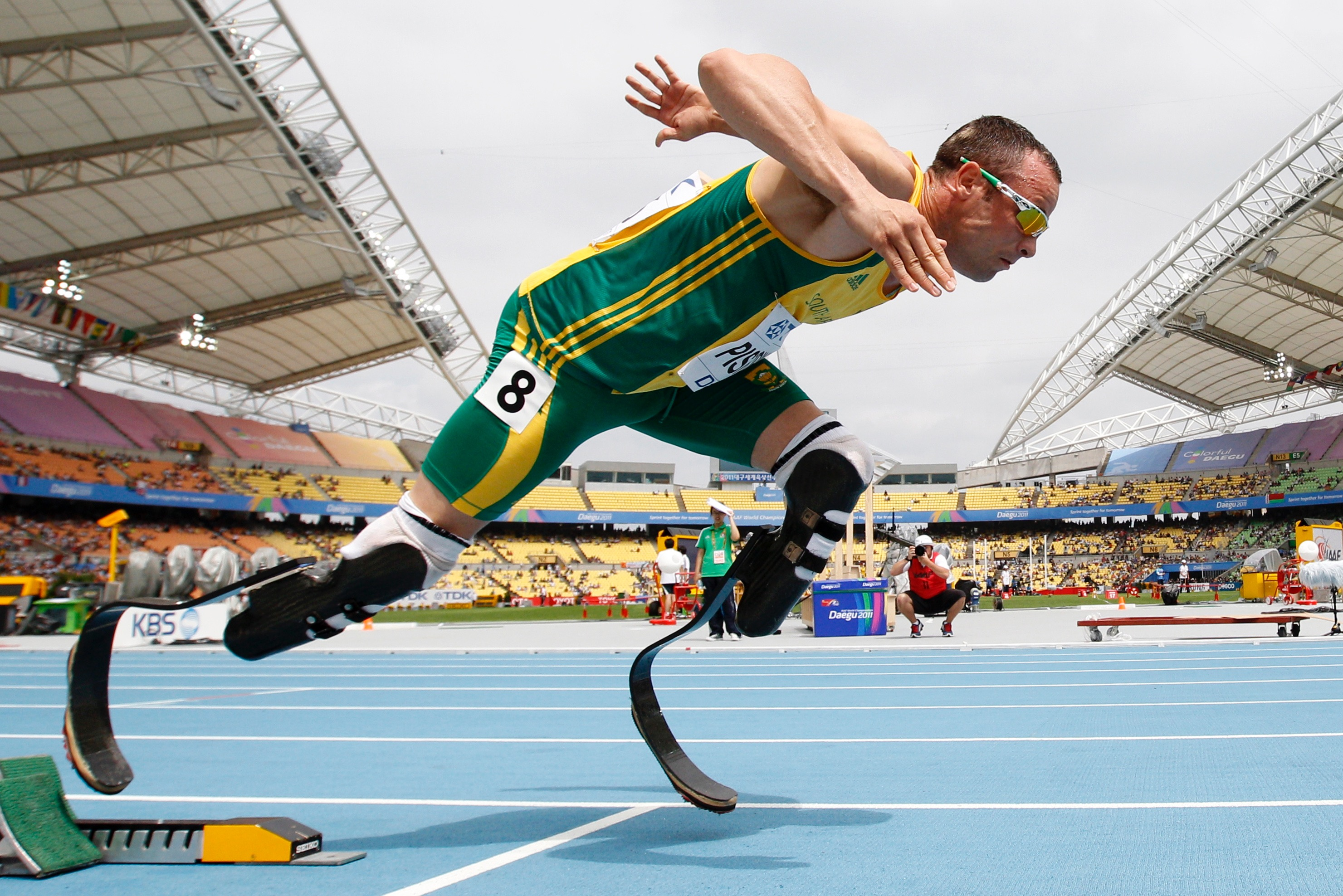 Oscar Pistorius of South Africa comes out of the starting blocks during his men's 400 metres heat at the IAAF World Championships in Daegu August 28, 2011.