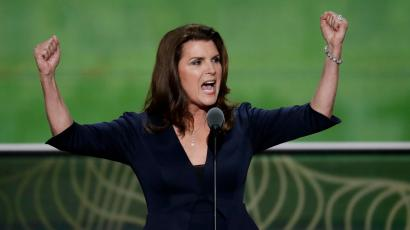 Actor Kimberlin Brown and farmer speaks during the second day of the Republican National Convention in Cleveland, Tuesday, July 19, 2016.