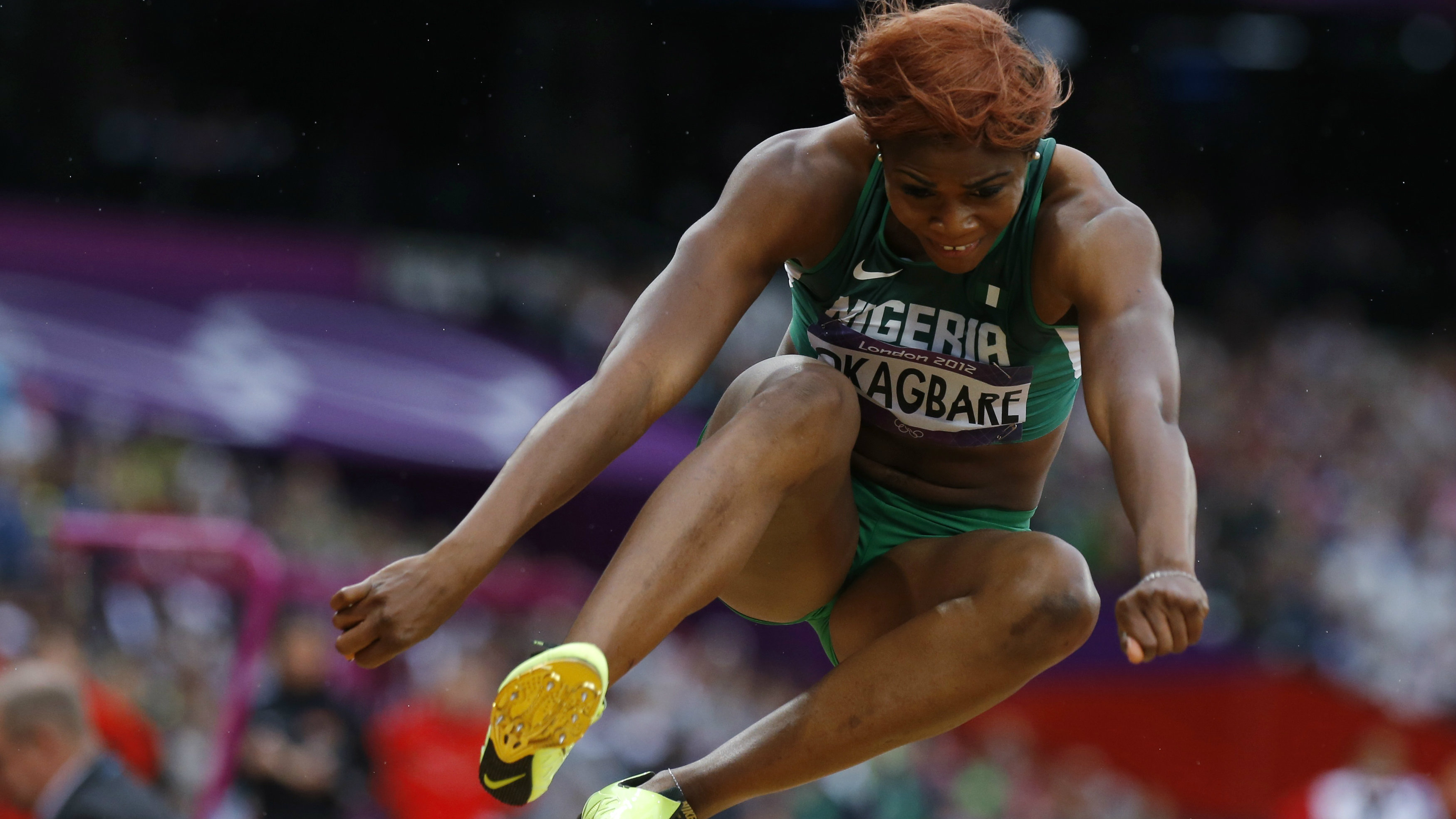 Nigeria's Blessing Okagbare competes in her women's long jump qualification during the London 2012 Olympic Games at the Olympic Stadium August 7, 2012.