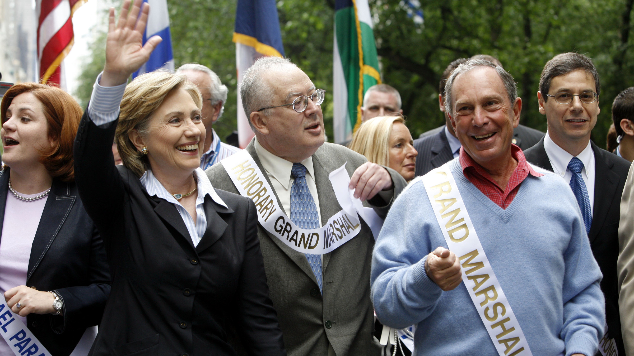 Sen. Hillary Rodham Clinton, D-N.Y., second left, New York City Mayor Michael Bloomberg, second from right, and New York's Israeli Consul General Aryeh Mekel, center, march in the Salute to Israel Day Parade, Sunday, June 4, 2006, along Fifth Avenue in New York.