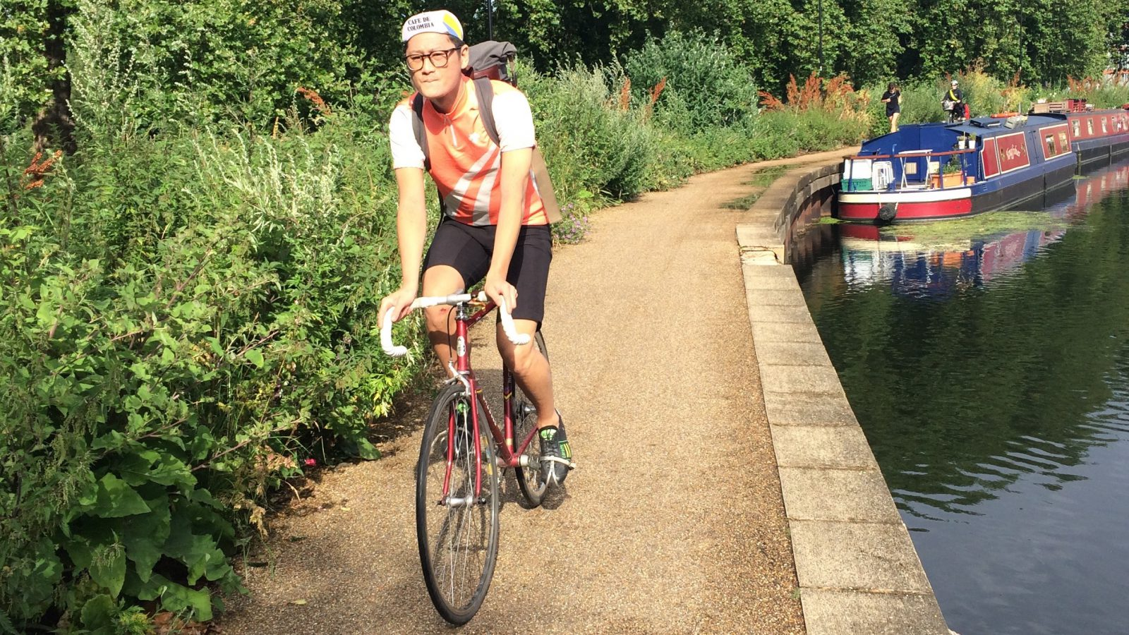 A cyclist on Regents Canal