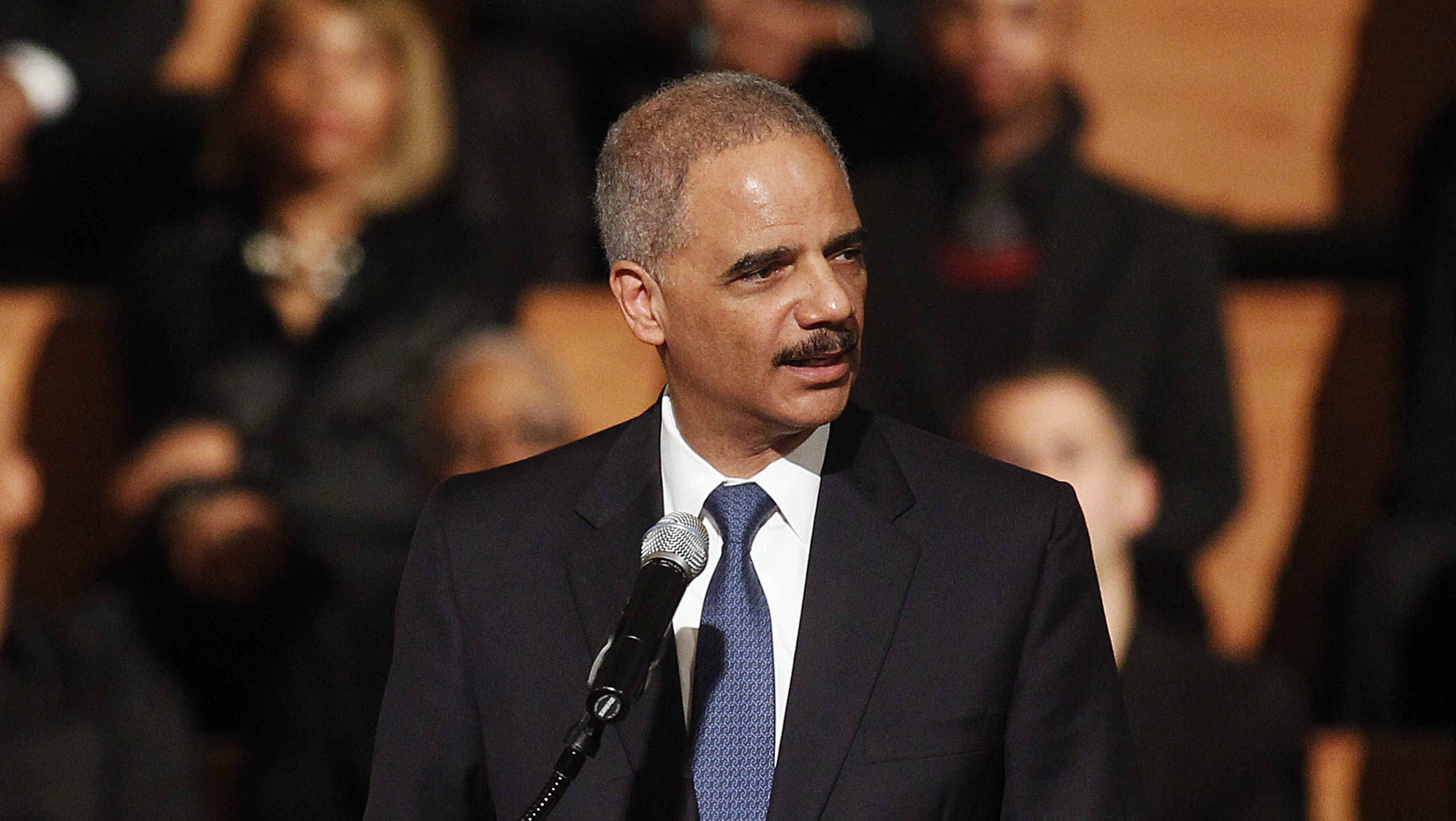 """U.S. Attorney General Eric Holder speaks at the Ebenezer Baptist Church during a forum titled """"The Community Speaks"""" in Atlanta, Georgia December 1, 2014. Holder said on Monday he would soon release new guidelines to limit racial profiling by federal law enforcement, a move long awaited by civil rights advocates. Holder announced his plan at Ebenezer Baptist Church in Atlanta, in the wake of unrest in Ferguson, Missouri following a grand jury's decision last week not to indict white police officer Darren Wilson in the killing of unarmed black teen Michael Brown.  REUTERS/Tami Chappell  (UNITED STATES - Tags: POLITICS CIVIL UNREST CRIME LAW) - RTR4GBRP"""
