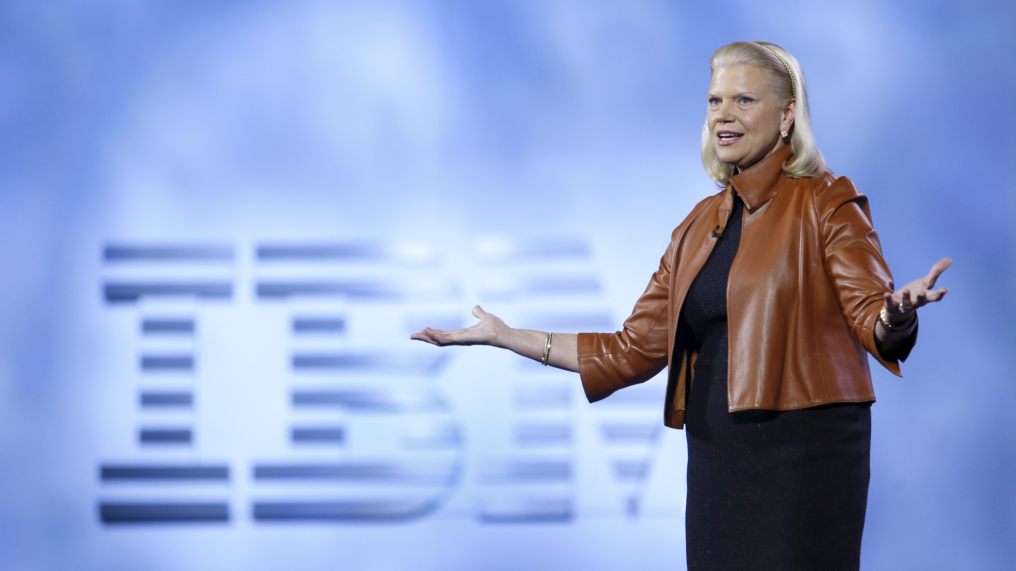 Ginni Rometty, chairman, president and CEO of IBM, speaks during a keynote address at the 2016 CES trade show in Las Vegas, Nevada, January 6, 2016. REUTERS/Steve Marcus - RTX21CJ6