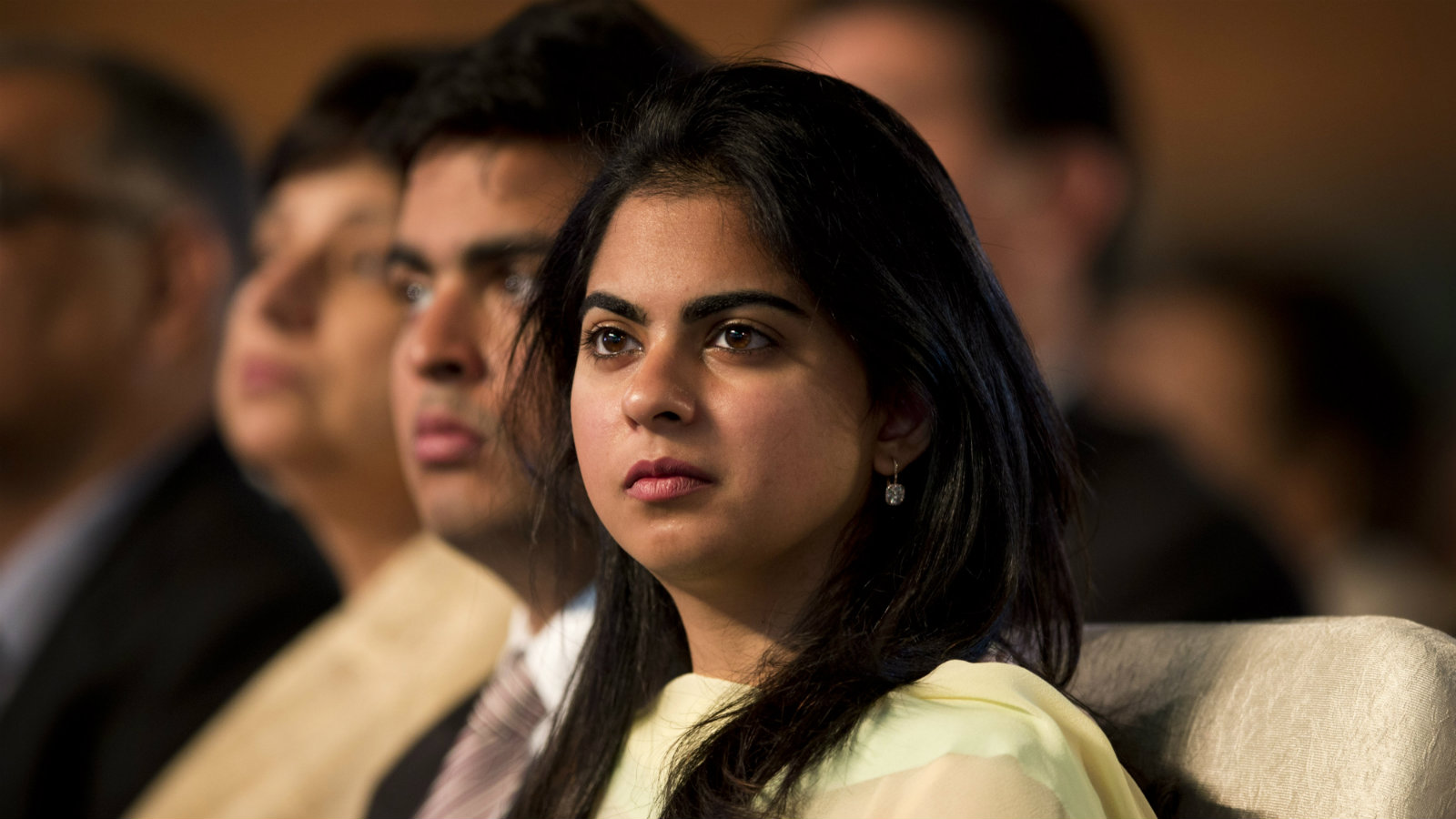 Isha Ambani, daughter of Indian Industrialist Mukesh Ambani, watches proceedings during the launch of digital India project in New Delhi, India, Wednesday, July 1, 2015. The initiative involves creating opportunities for all Indian citizens by harnessing digital technologies, to empower every citizen with access to digital services, knowledge and information.