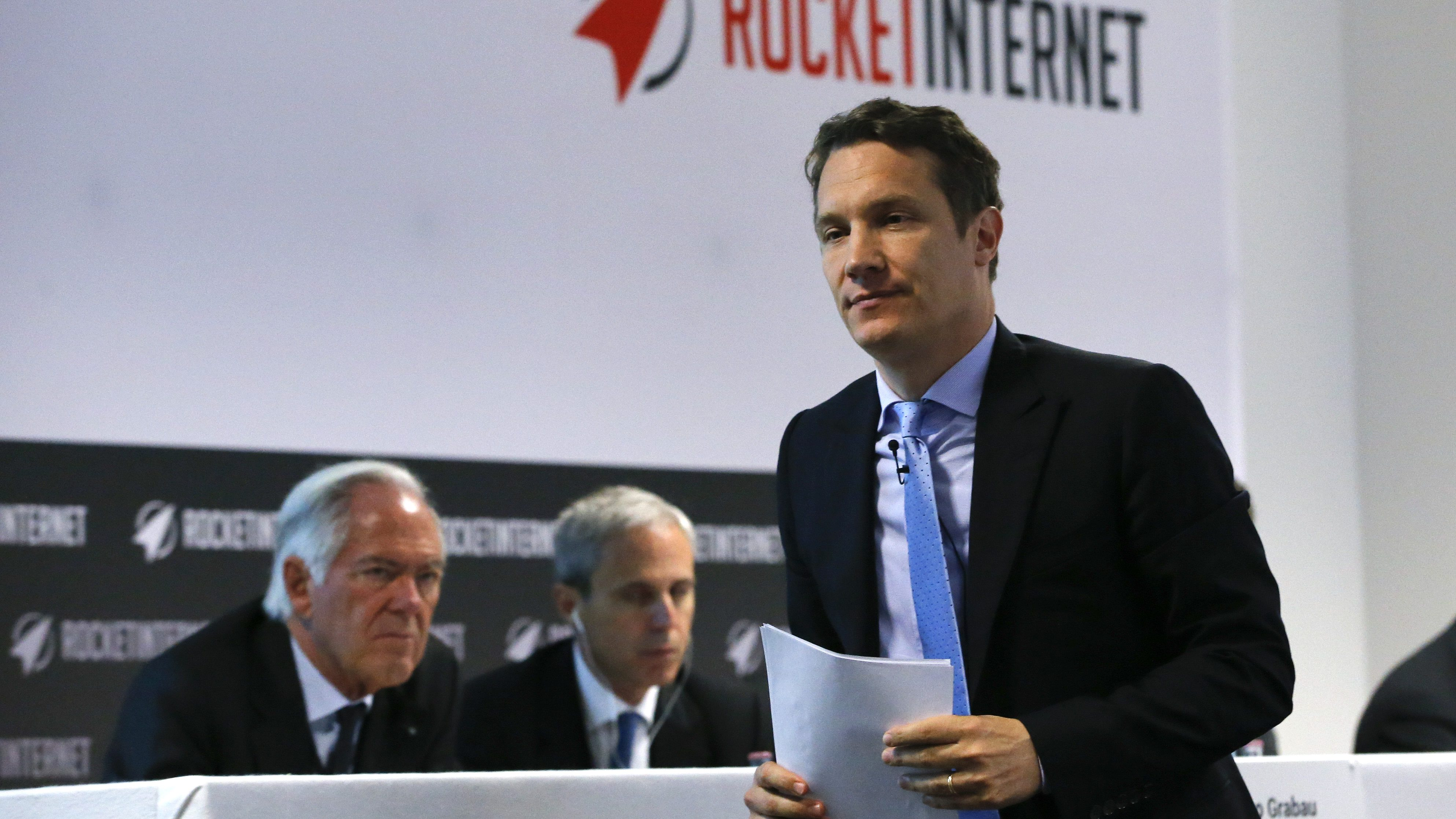 Oliver Samwer, CEO of Rocket Internet, a German venture capital group walks to the podium during their shareholder meeting in Berlin, Germany, June 23, 2015. Germany's Rocket Internet plans to seek shareholders' permission to issue a convertible bond of up to 2 billion euros  ($2.25 billion) by June 2020 at its shareholder meeting on Tuesday to increase its financial flexibility for its global investment spree.