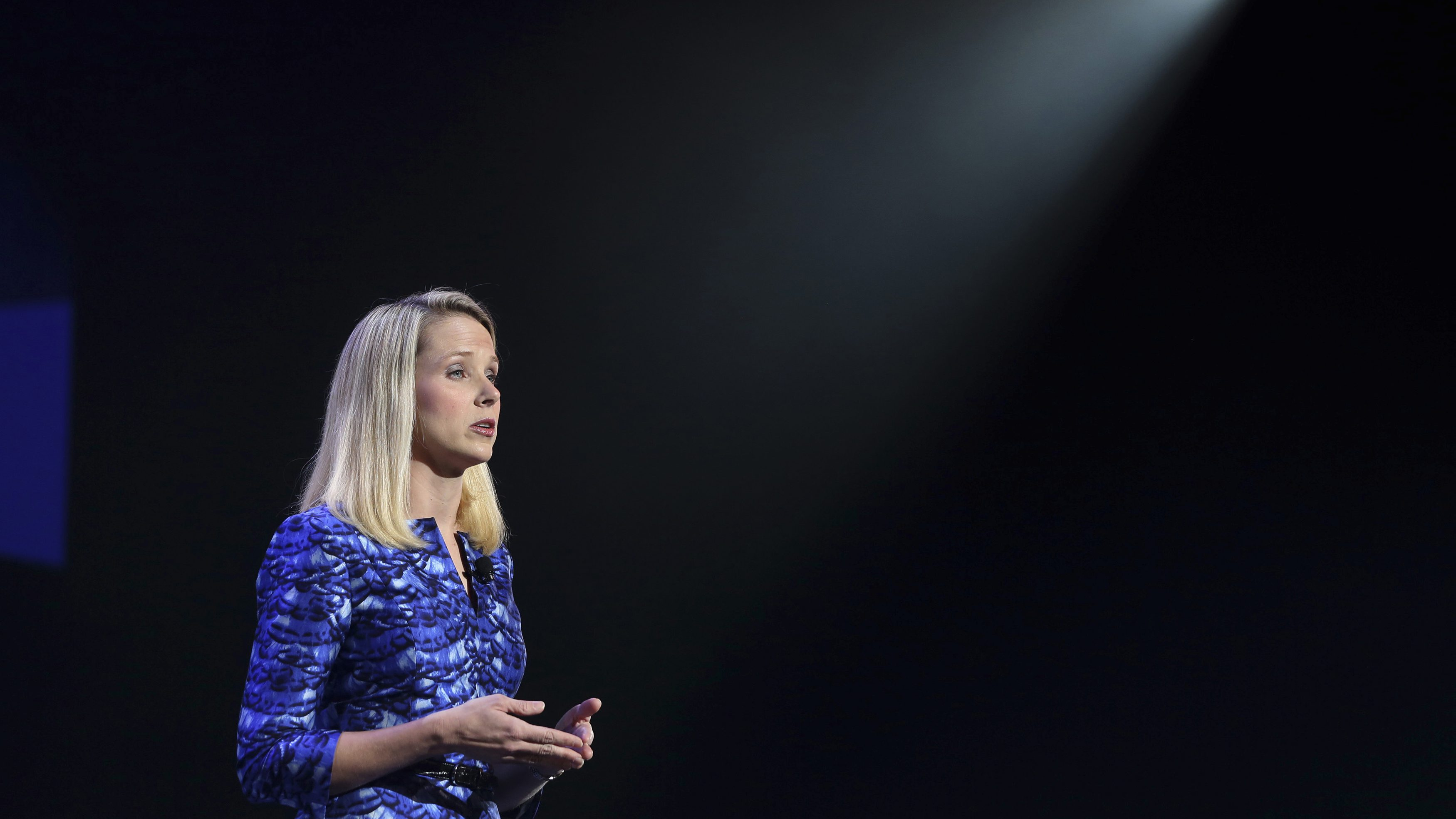 Yahoo CEO Marissa Mayer delivers her keynote address at the annual Consumer Electronics Show (CES) in Las Vegas, Nevada January 7, 2014.