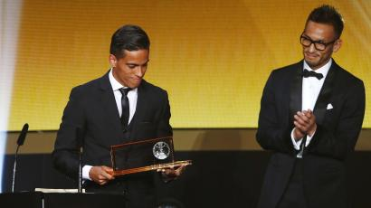 Goiano's Lira of Brazil holds the Puskas Award for Best Goal during the FIFA Ballon d'Or 2015 ceremony in Zurich