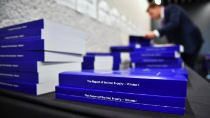 A view of The Iraq Inquiry Report presented by Sir John Chilcot at the Queen Elizabeth II Centre in London