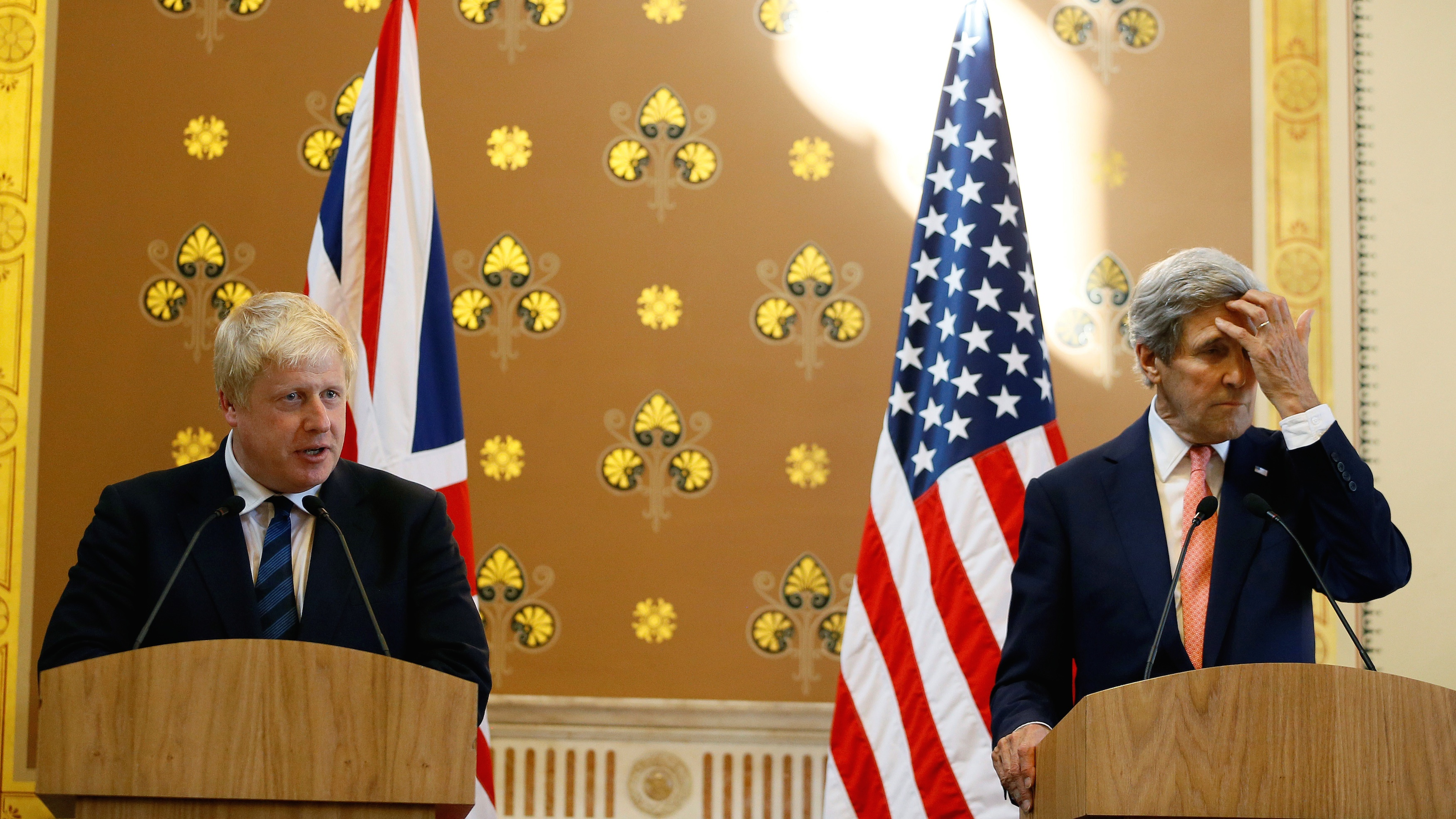 Britain's Foreign Secretary Boris Johnson, left, speaks during a press conference with U.S. Secretary of State John Kerry at the Foreign Office in London.