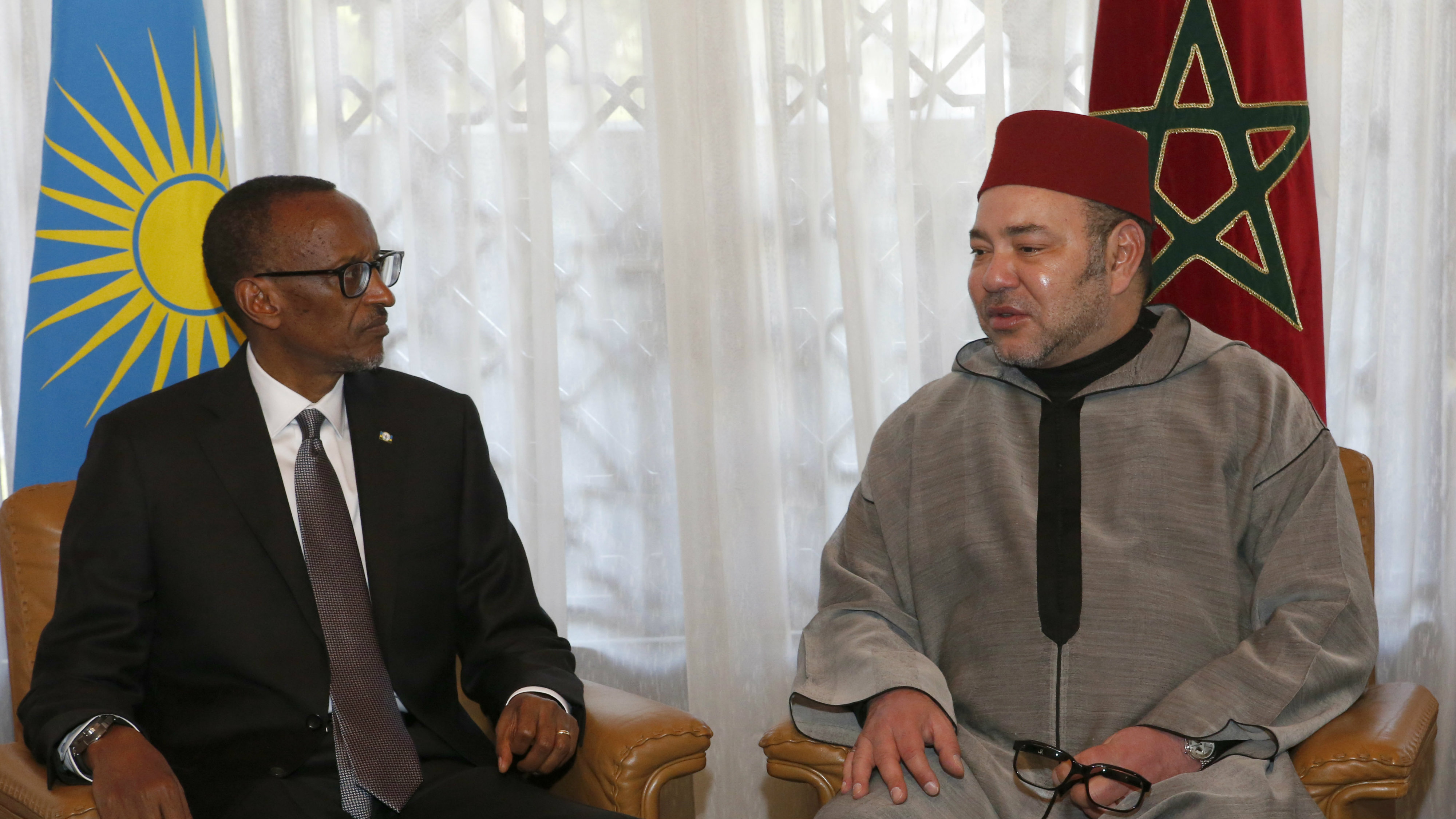 Rwanda's President Paul Kagame, left and Morocco's King Mohammed VI, right, pose for photographers prior to their talks at the royal palace in Casablanca, Morocco, Monday June 20, 2016.