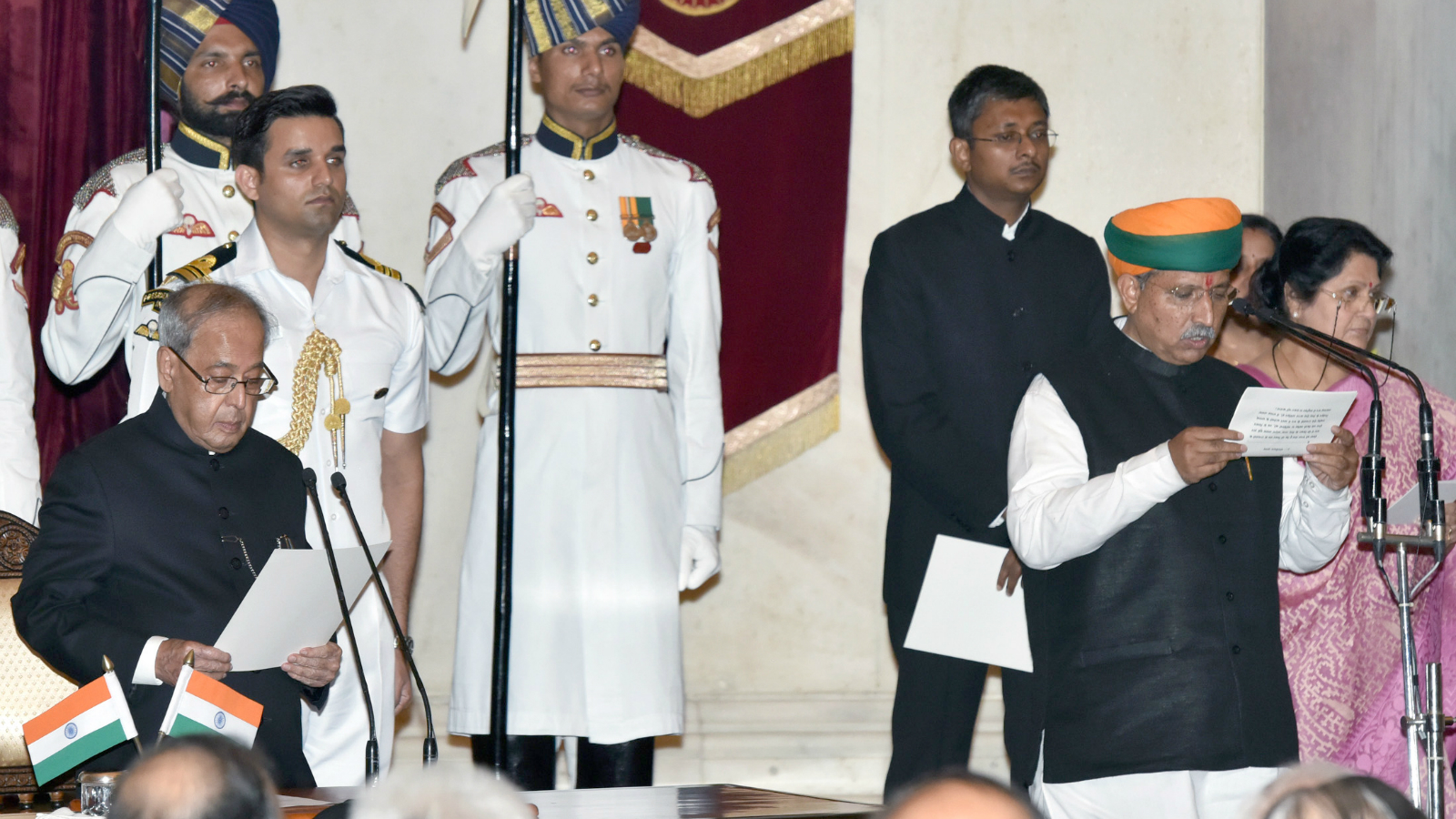 The President, Shri Pranab Mukherjee administering the oath as Minister of State to Shri Arjun Ram Meghwal, at a Swearing-in Ceremony, at Rashtrapati Bhavan, in New Delhi on July 05, 2016.