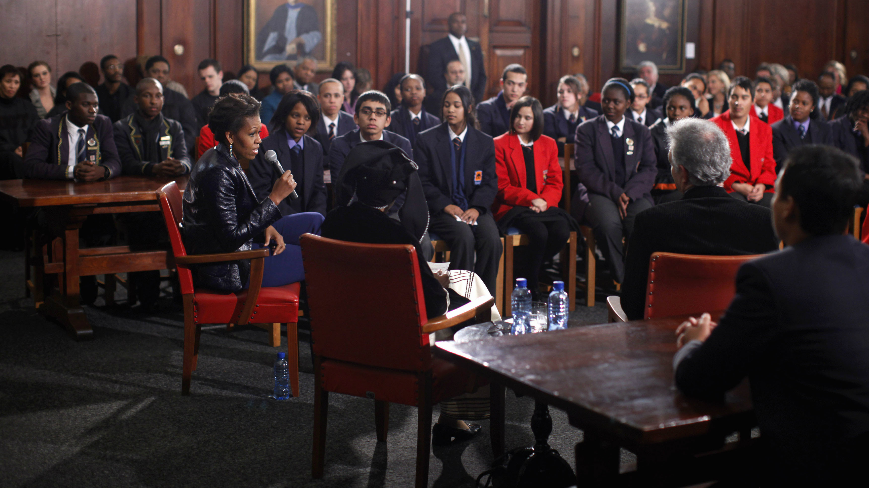 U.S. first lady Michelle Obama answers students' questions at the University of Cape Town in Cape Town June 23, 2011.