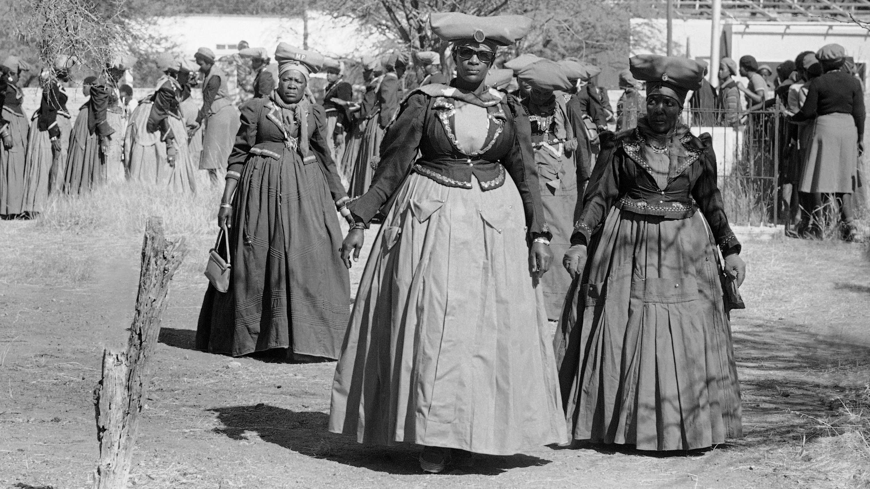 Women of the Herero tribe, the fourth largest of the territory's black tribes, show their traditional dress, July 4, 1981 in Windhoek.