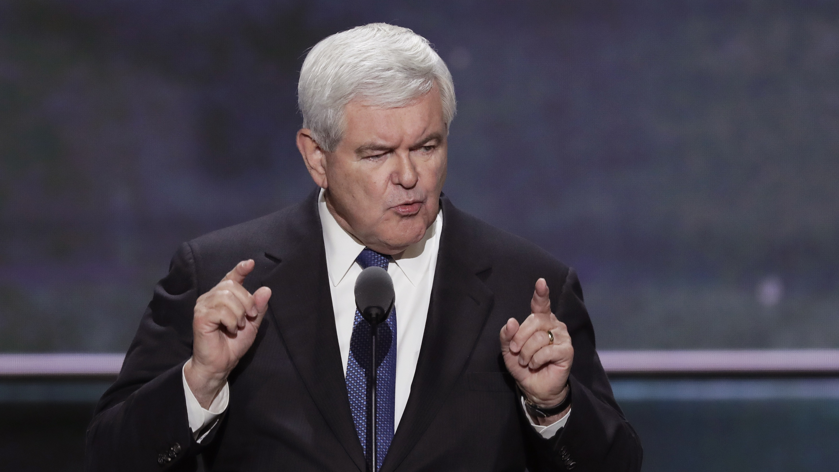 Newt Gingrich addresses the RNC in Cleveland.