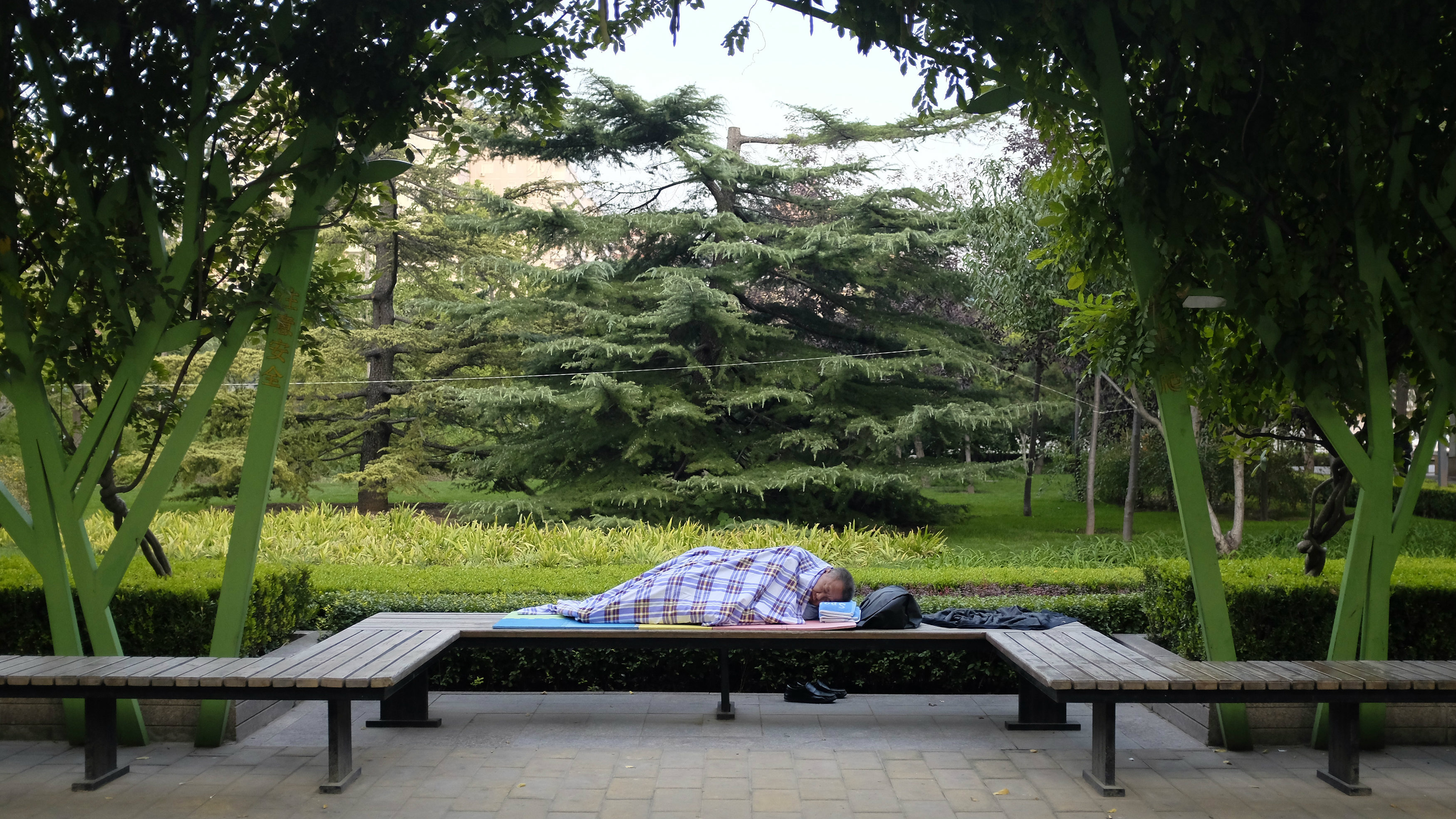 A man sleeps on a bench at public green space in central Beijing, October 6, 2014. REUTERS/Jason Lee