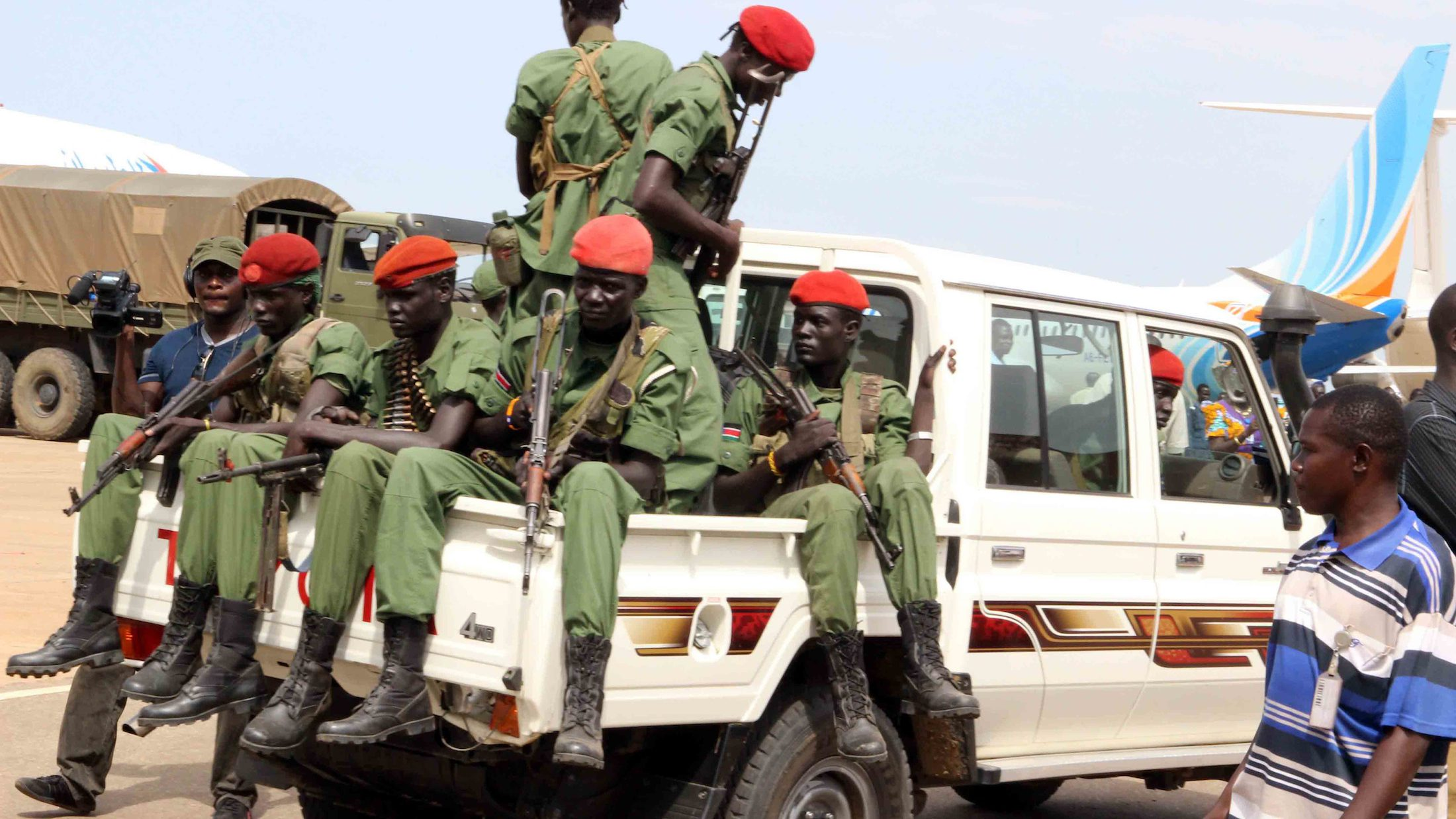 A file photo dated 25 April 2016 showing a group of the 195 opposition soldiers arriving with General Simon Gatwech Dual, the chief of staff of the South Sudan rebel troops, in Juba, South Sudan. Reports on 10 July 2016 said hundreds were killed in two days of renewed fighting between supporters of President Salva Kiir and Vice-President Riek Machar. The UN Security Council condemned the fighting that erupted in Juba, the worst violence since a peace deal was signed in 2015 and forming the national unity government in April this year.