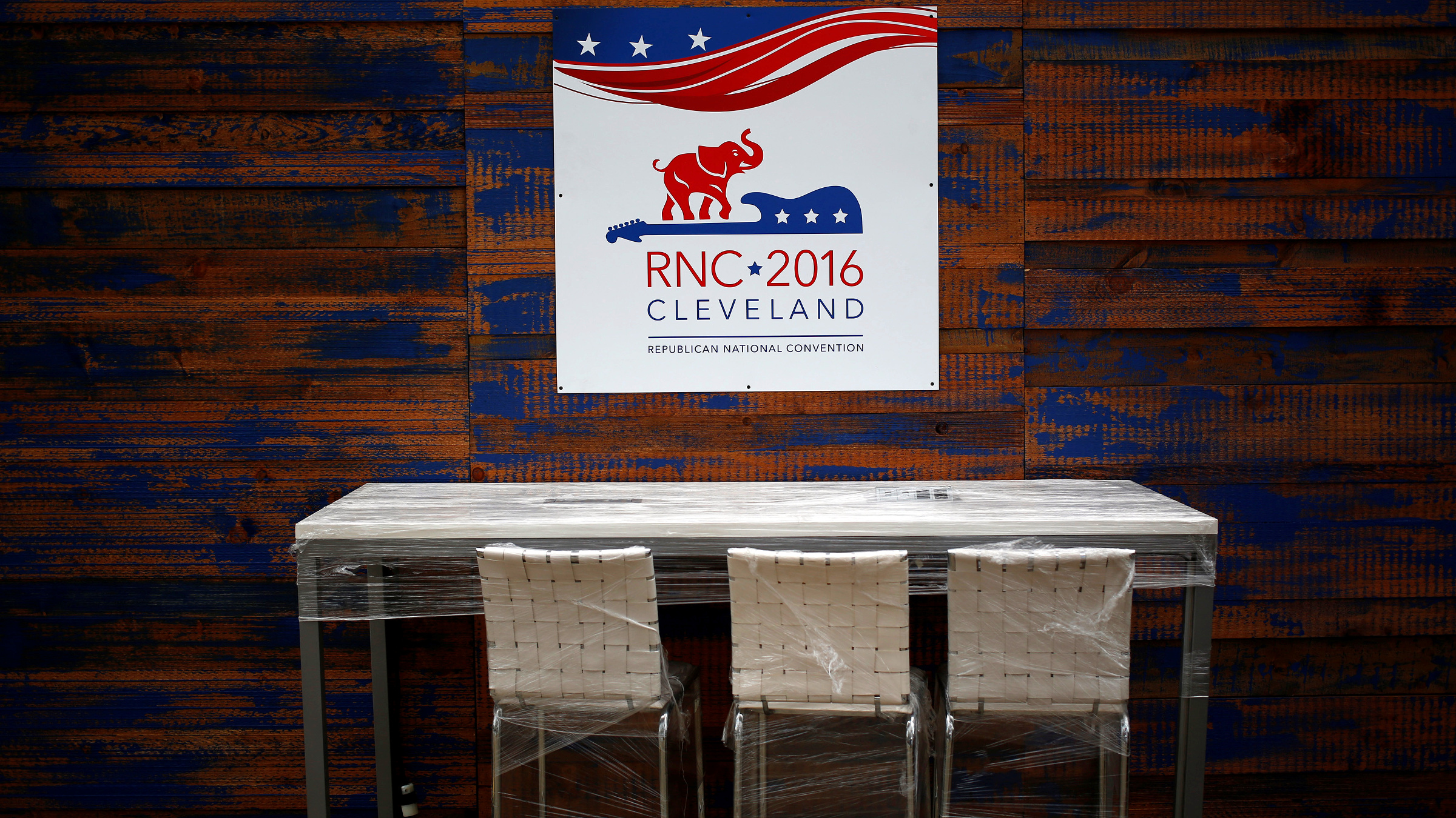 A bar is seen outside the Quicken Loans Arena in advance of the Republican National Convention in Cleveland, Ohio July 15, 2016.