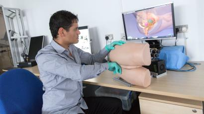 Dr Alejandro Granados from Imperial College London demonstrates the robotic rectum technology, which he has developed to enable medics to practise rectal exams