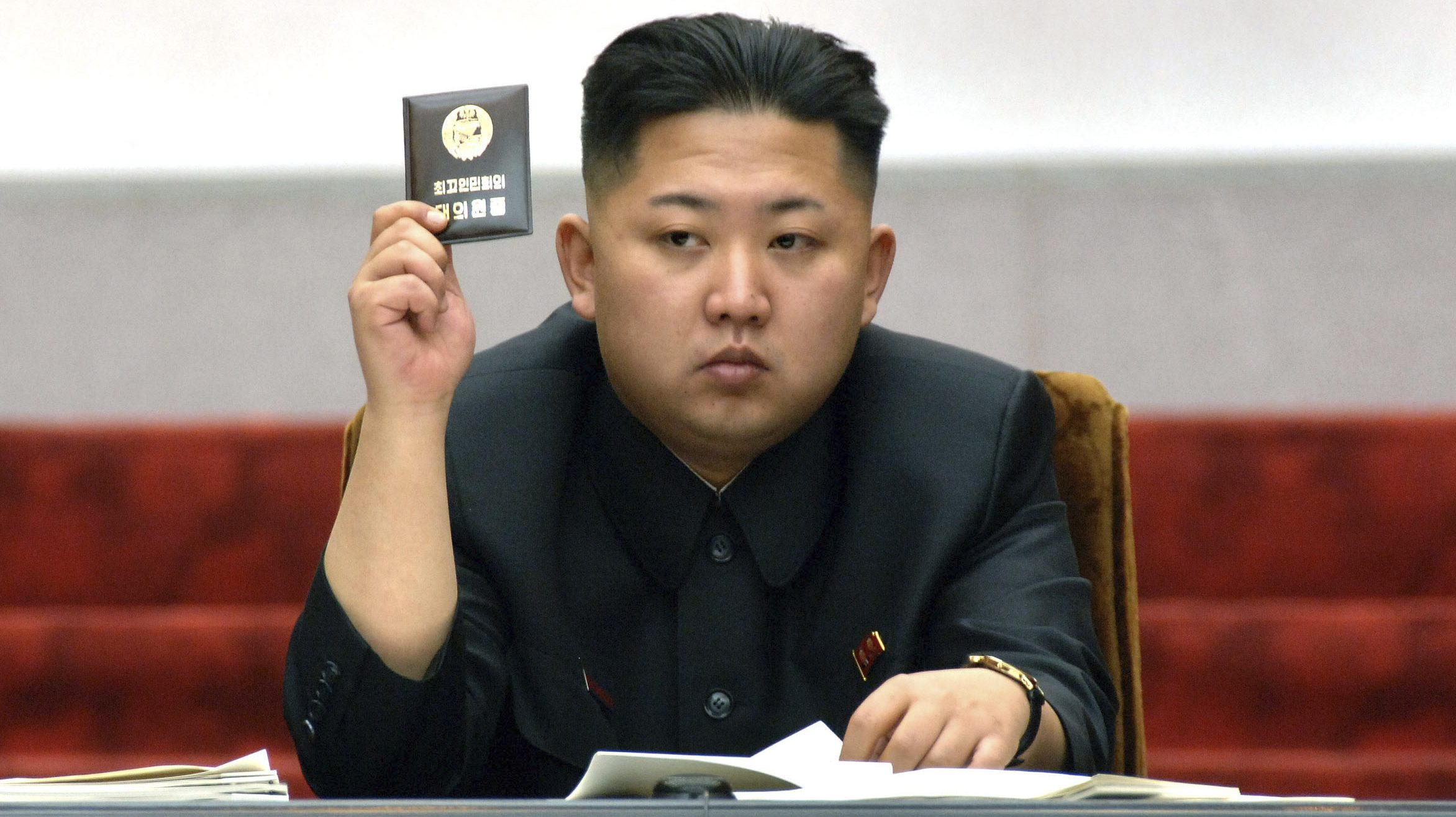 North Korean leader Kim Jong-Un holds up his ballot during the fifth session of the 12th Supreme People's Assembly of North Korea at the Mansudae Assembly Hall in Pyongyang April 13, 2012, in this picture released by the North's KCNA on April 14, 2012. REUTERS/KCNA (NORTH KOREA - Tags: POLITICS TPX IMAGES OF THE DAY) QUALITY FROM SOURCE. THIS IMAGE HAS BEEN SUPPLIED BY A THIRD PARTY. IT IS DISTRIBUTED, EXACTLY AS RECEIVED BY REUTERS, AS A SERVICE TO CLIENTS. NO THIRD PARTY SALES. NOT FOR USE BY REUTERS THIRD PARTY DISTRIBUTORS - RTR30PN7