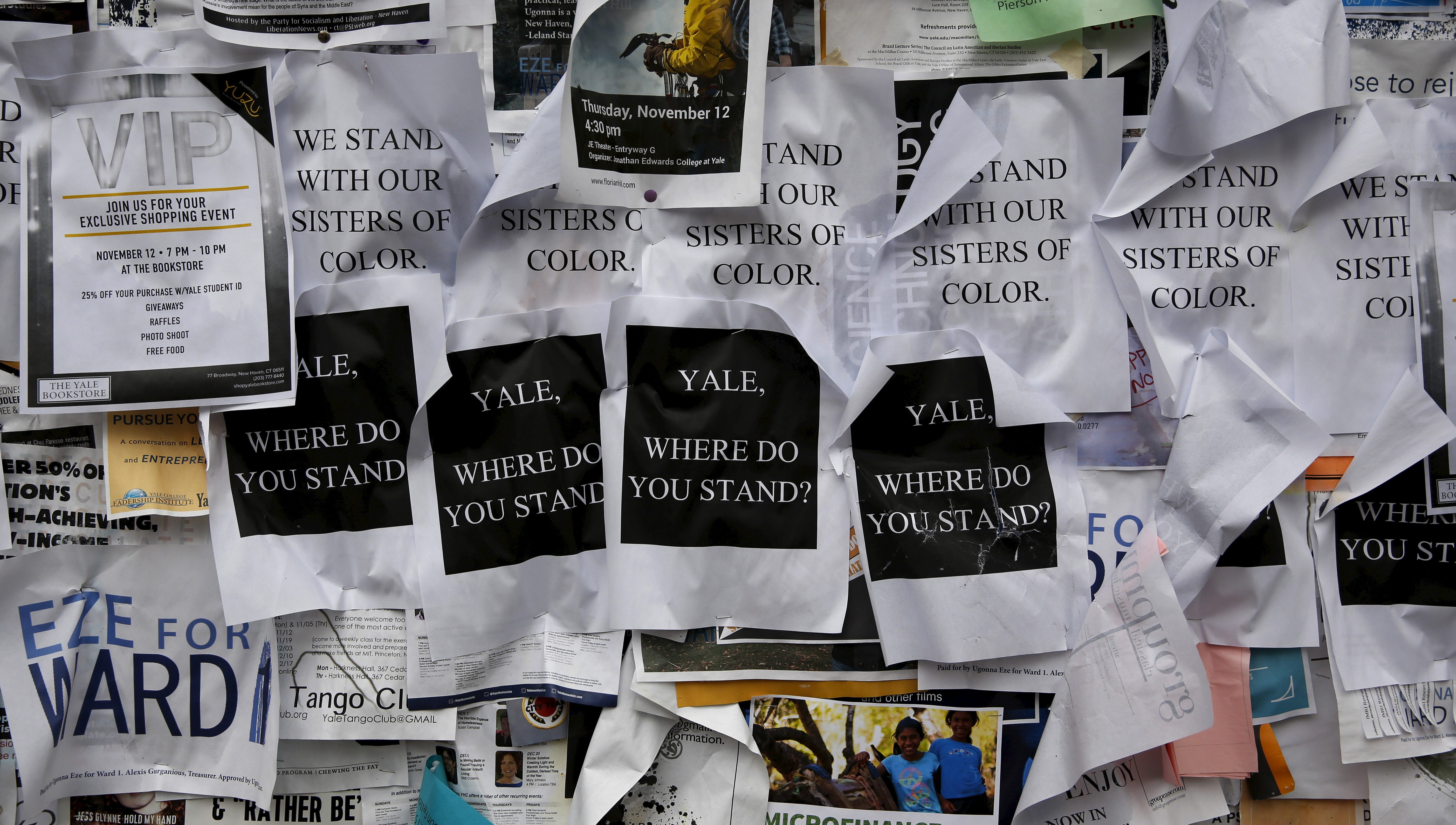 Flyers are seen posted on a college noticeboard on campus at Yale University in New Haven, Connecticut November 12, 2015. More than 1,000 students, professors and staff at Yale University gathered on Wednesday to discuss race and diversity at the elite Ivy League school, amid a wave of demonstrations at U.S. colleges over the treatment of minority students. REUTERS/Shannon Stapleto - RTS6PPX