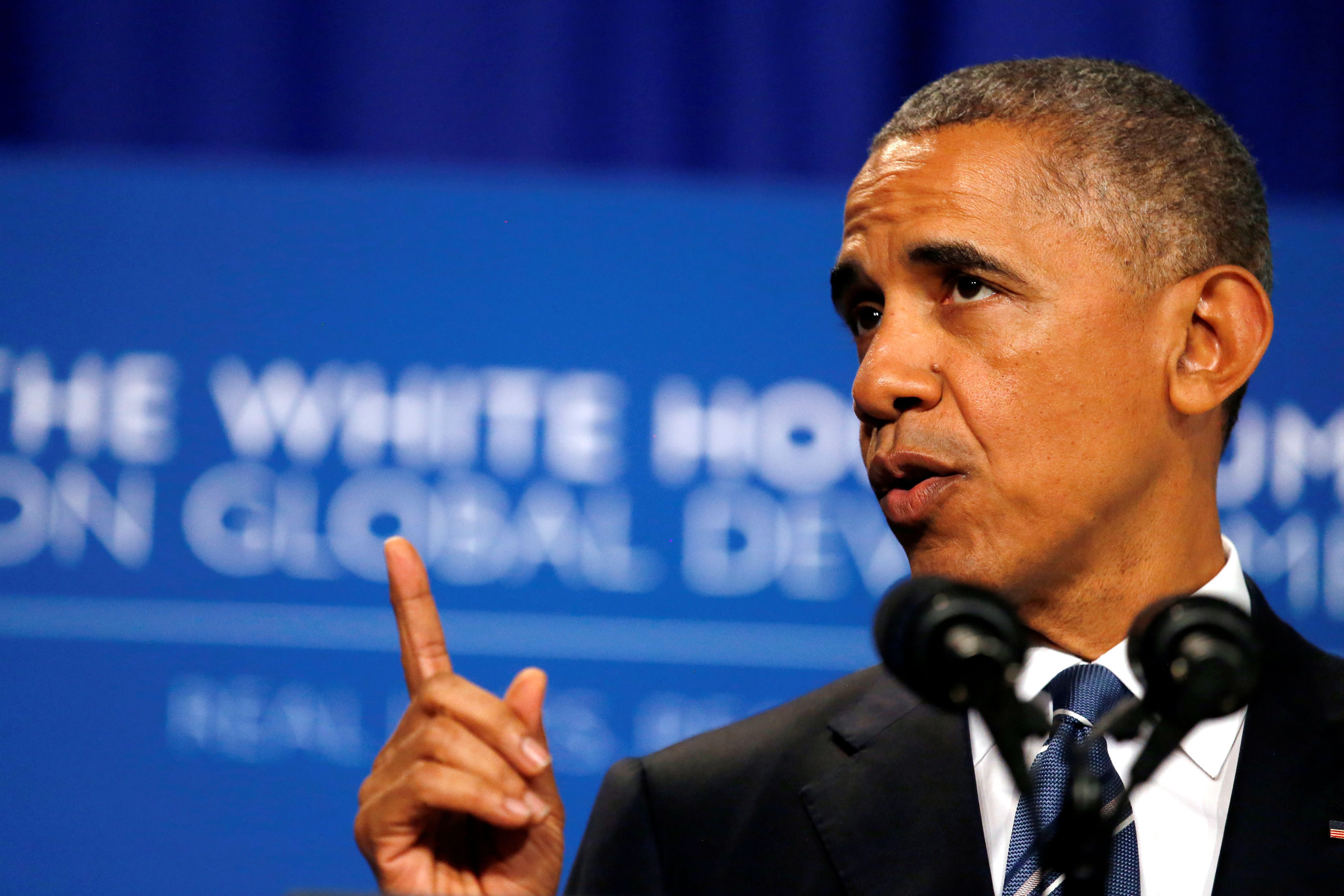 U.S. President Barack Obama delivers remarks during the White House Summit on Global Development at the Ronald Reagan Building in Washington U.S.