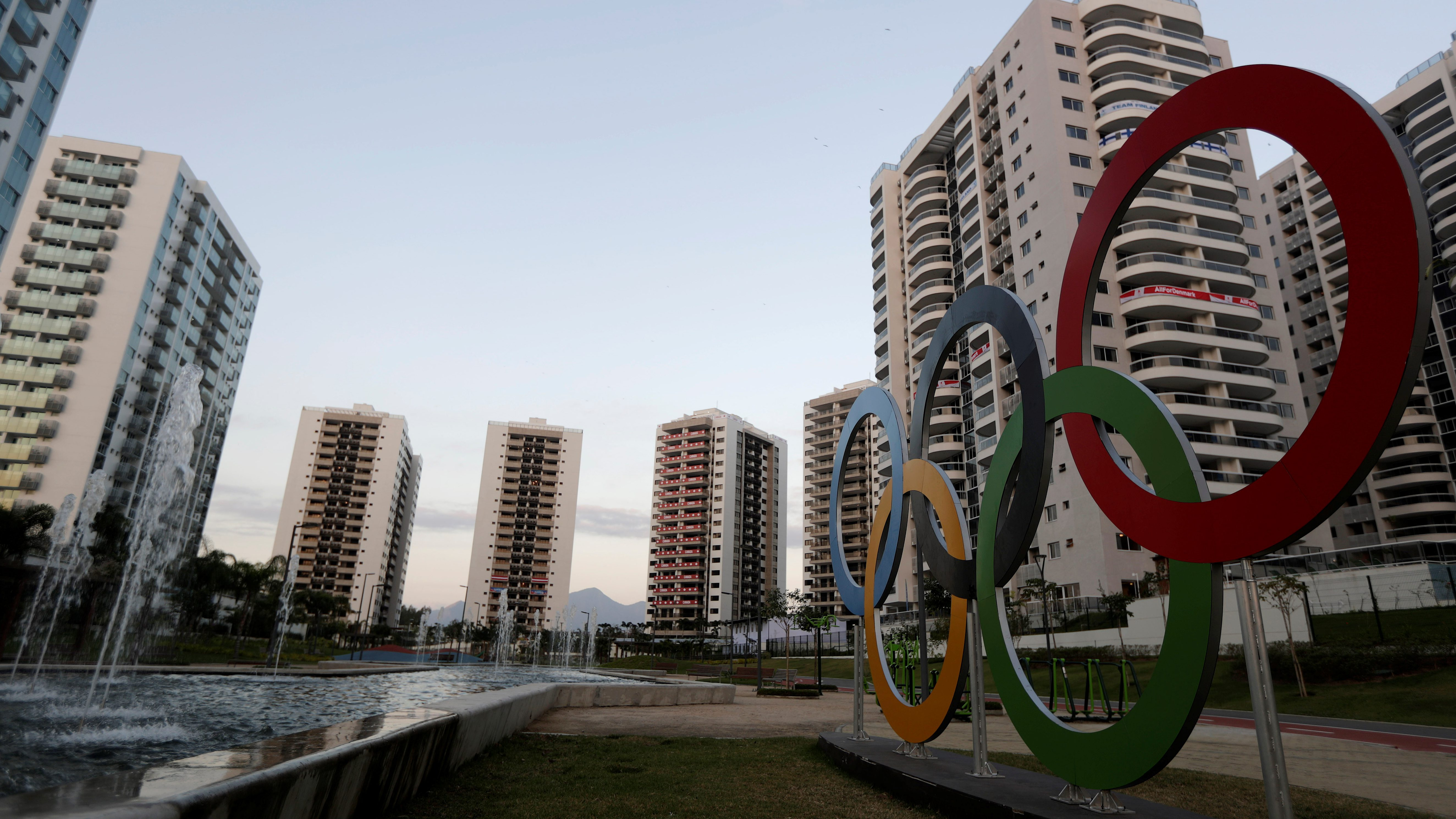 General view of athletes' accommodation can be seen during a guided tour for journalists to the 2016 Rio Olympics Village in Rio de Janeiro