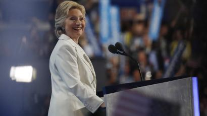 Democratic U.S. presidential nominee Hillary Clinton smiles after accepting the nomination on the fourth and final night at the Democratic National Convention in Philadelphia, Pennsylvania, U.S. July 28, 2016. REUTERS/Carlos Barria