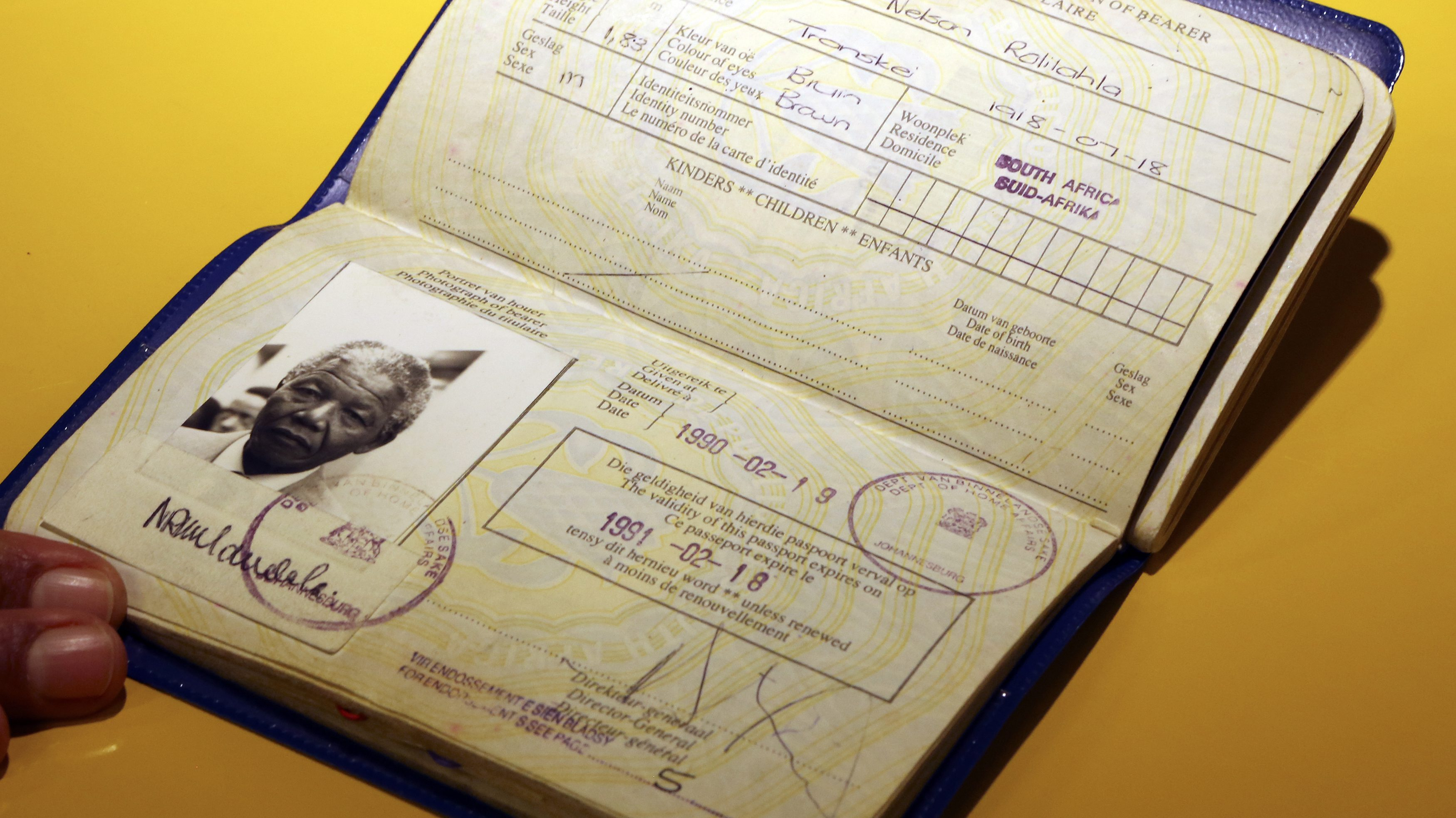 The first official passport of former South African president Nelson Mandela.
