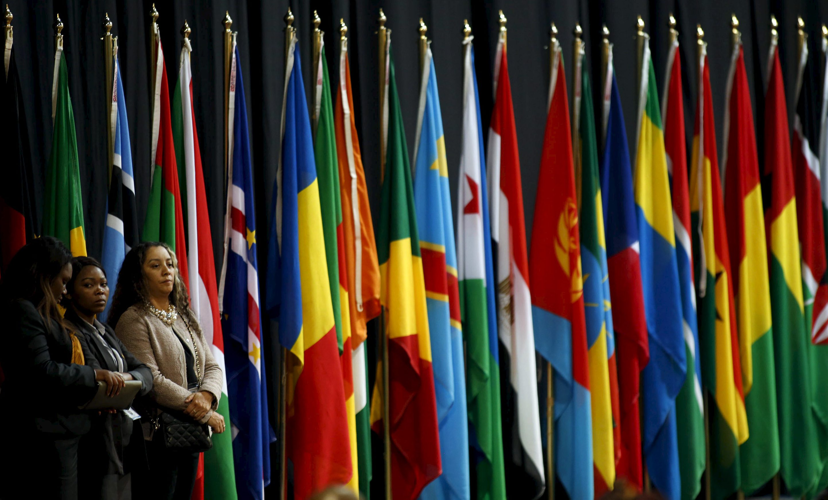 African Union flags.