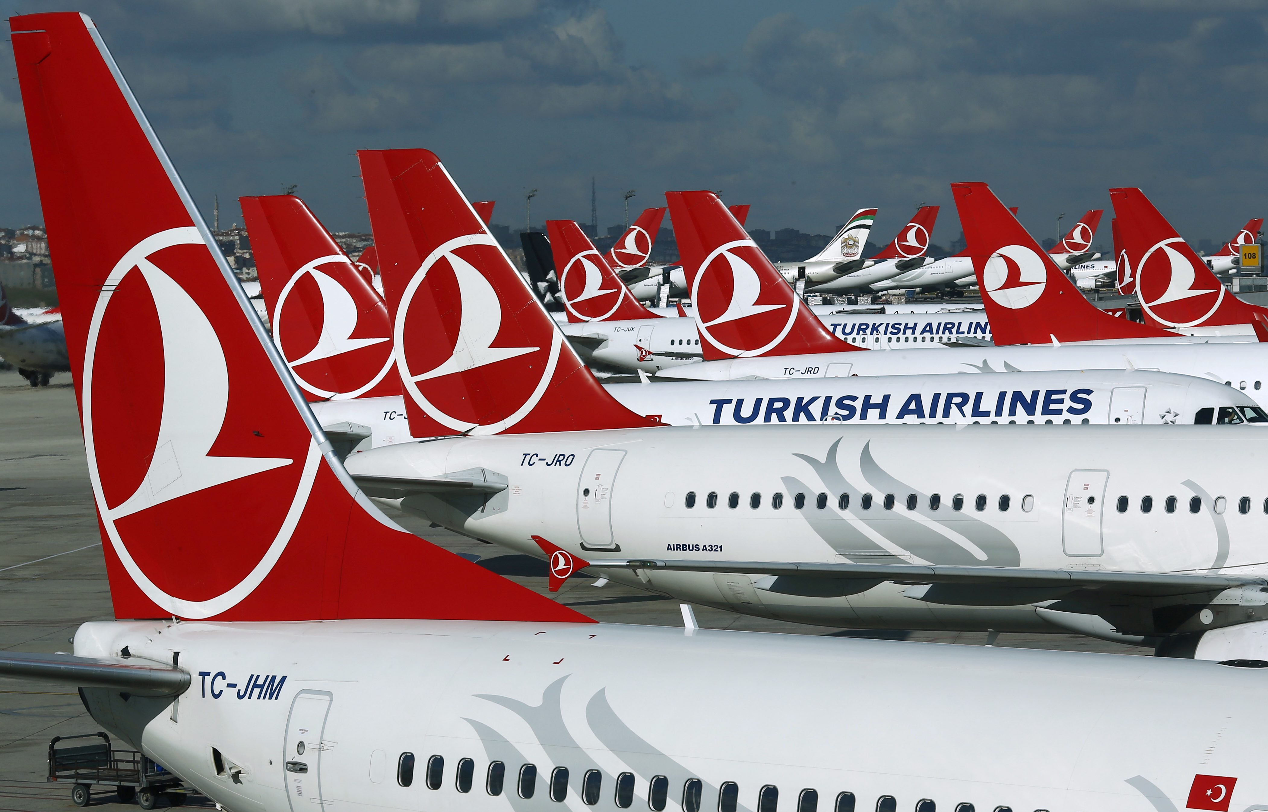 Turkish Airlines aircrafts are parked at the Ataturk International airport in Istanbul