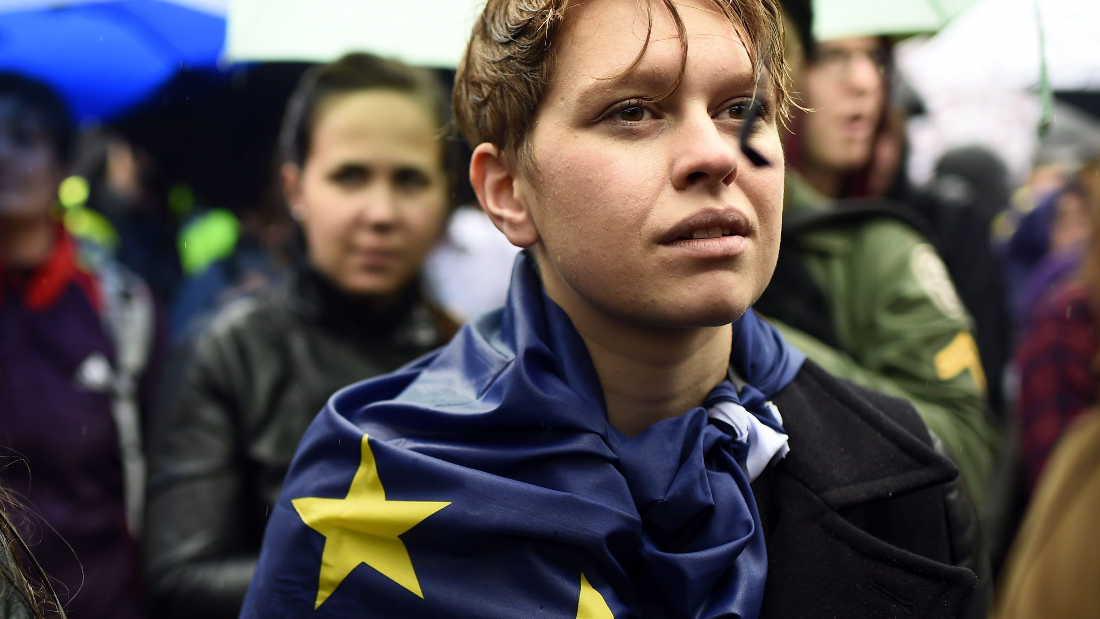 Demonstrators take part in a protest aimed at showing London's solidarity with the European Union following the recent EU referendum, inTrafalgar Square, central London