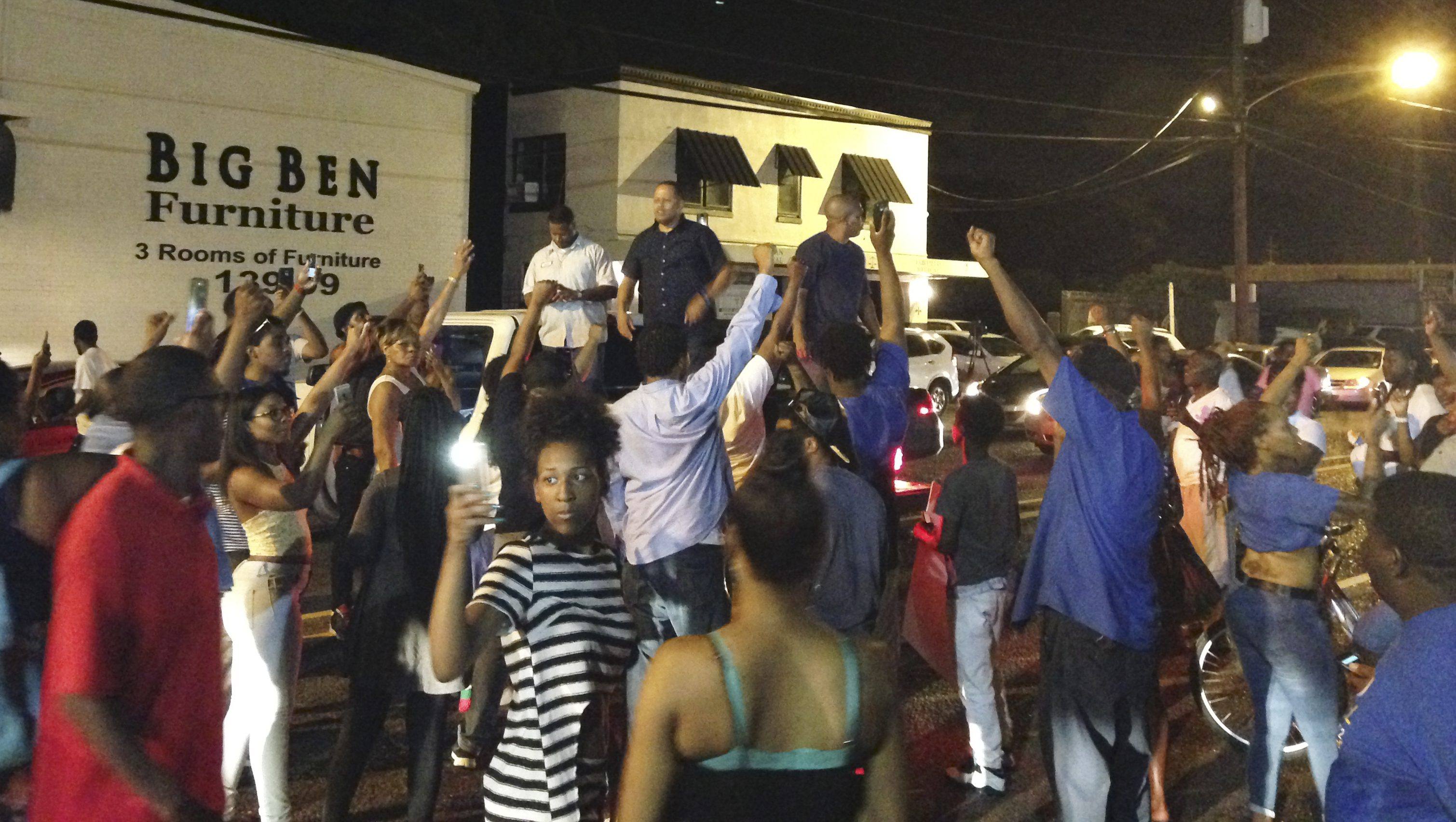 People protest after Alton Sterling was shot and killed during an altercation with two Baton Rouge police officers in Baton Rouge Louisiana