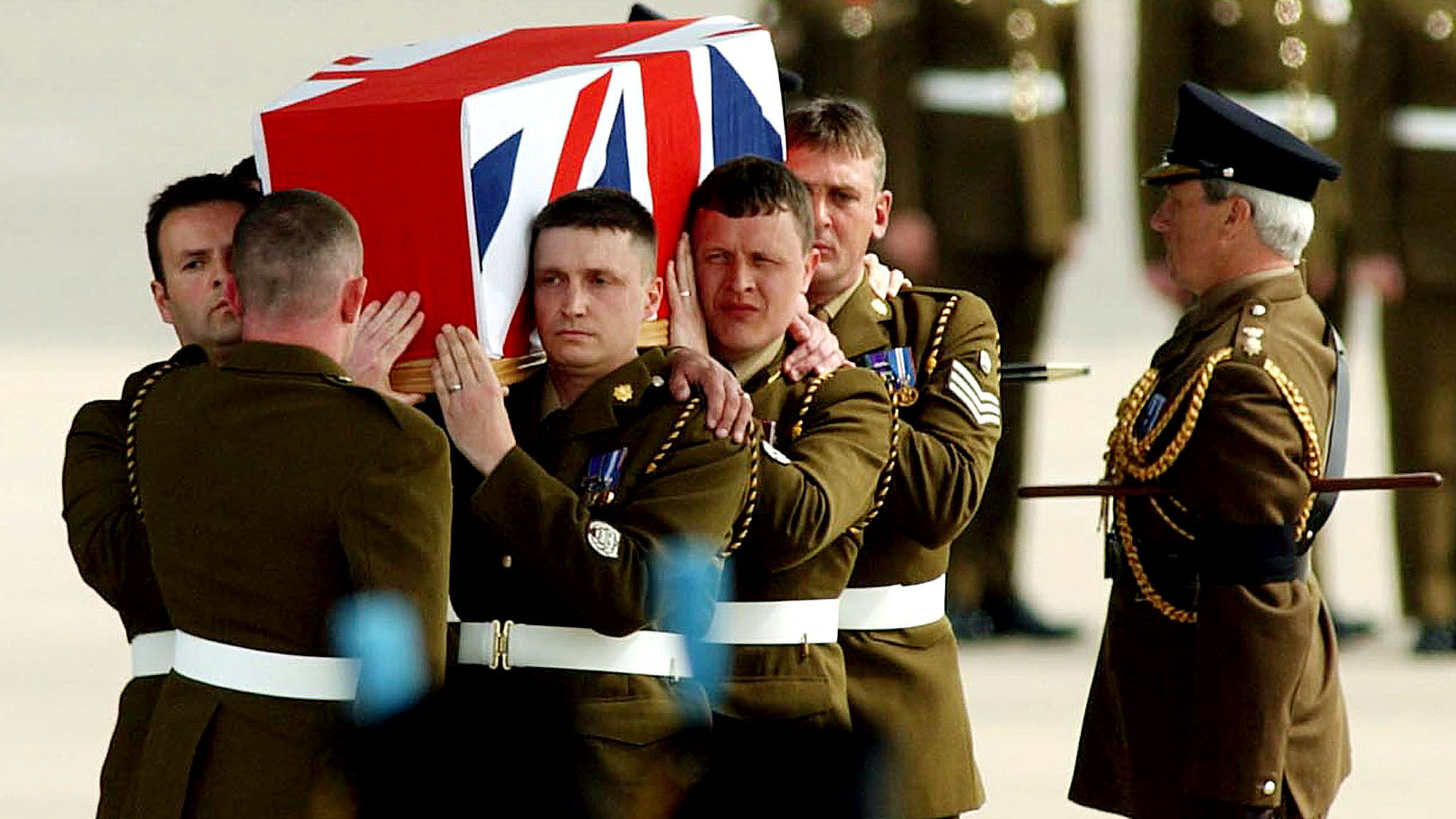 The body of British Staff Sergeant Christopher Muir arrives at RAF (Royal Air Force) Brize Norton in..