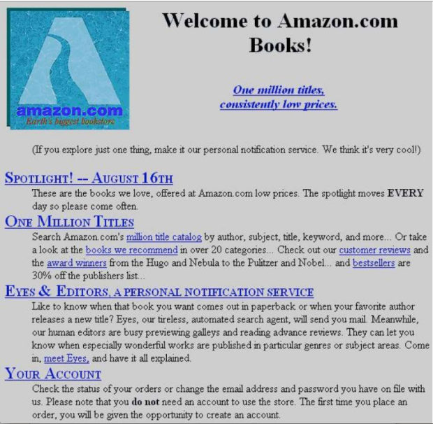 Amazon First Company: This Is What Amazon's Homepage Looked Like When It