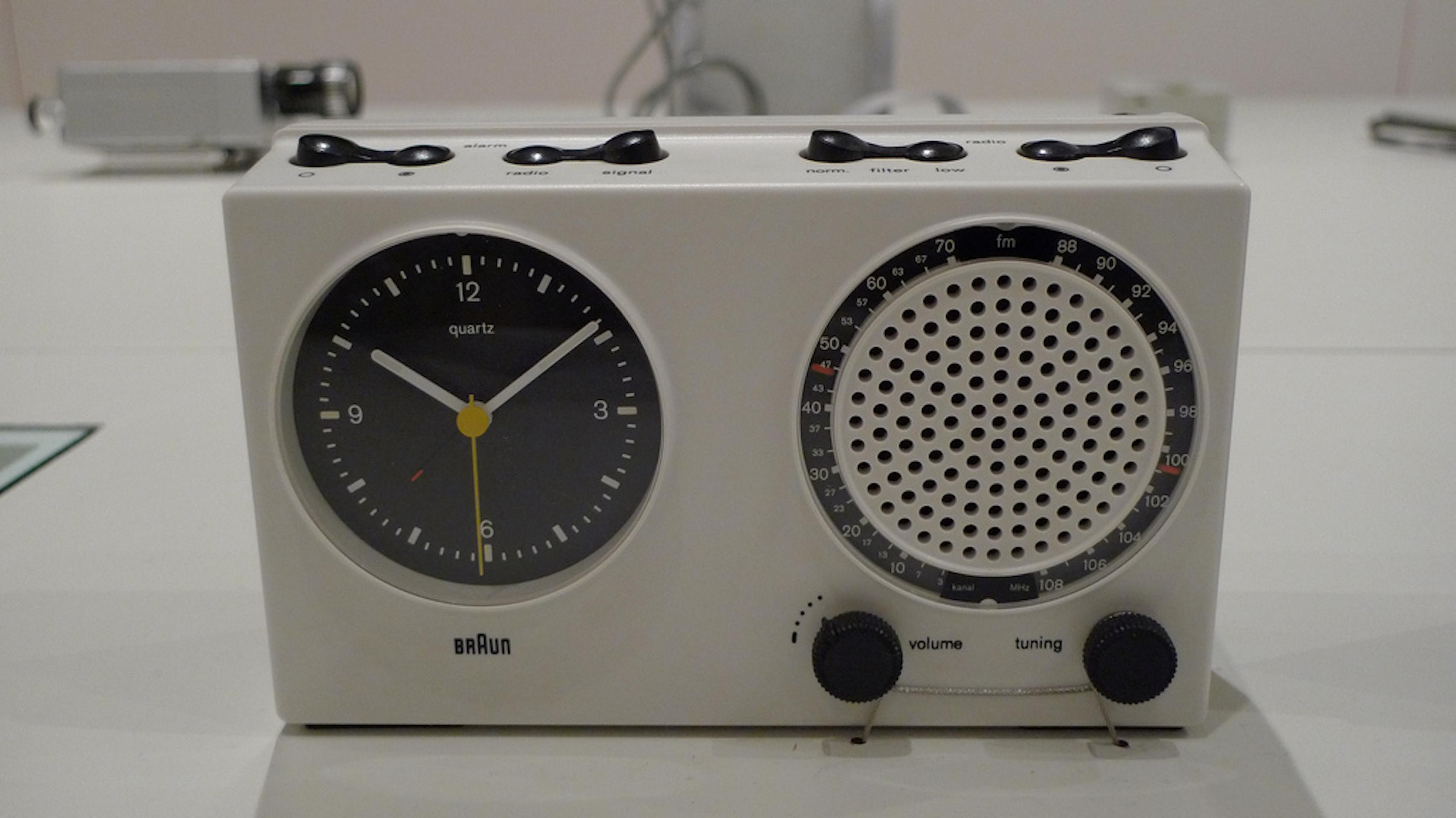 Dieter Rams' famous alarm clock speaks to his sleek, minimalist style.