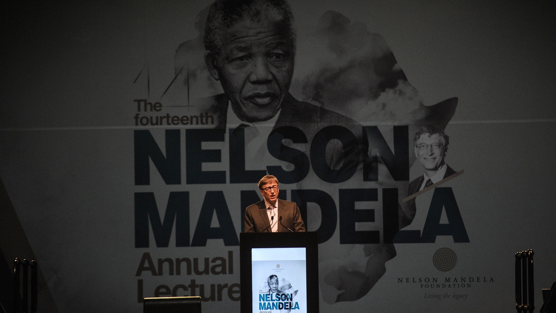 Microsoft co-founder and philanthropist Bill Gates delivers the Nelson Mandela Annual Lecture in Pretoria, South Africa, Sunday, July 17, 2016. Gates said that his foundation will invest another $5 billion in Africa over the next five years.
