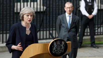 Theresa May outside her new home.
